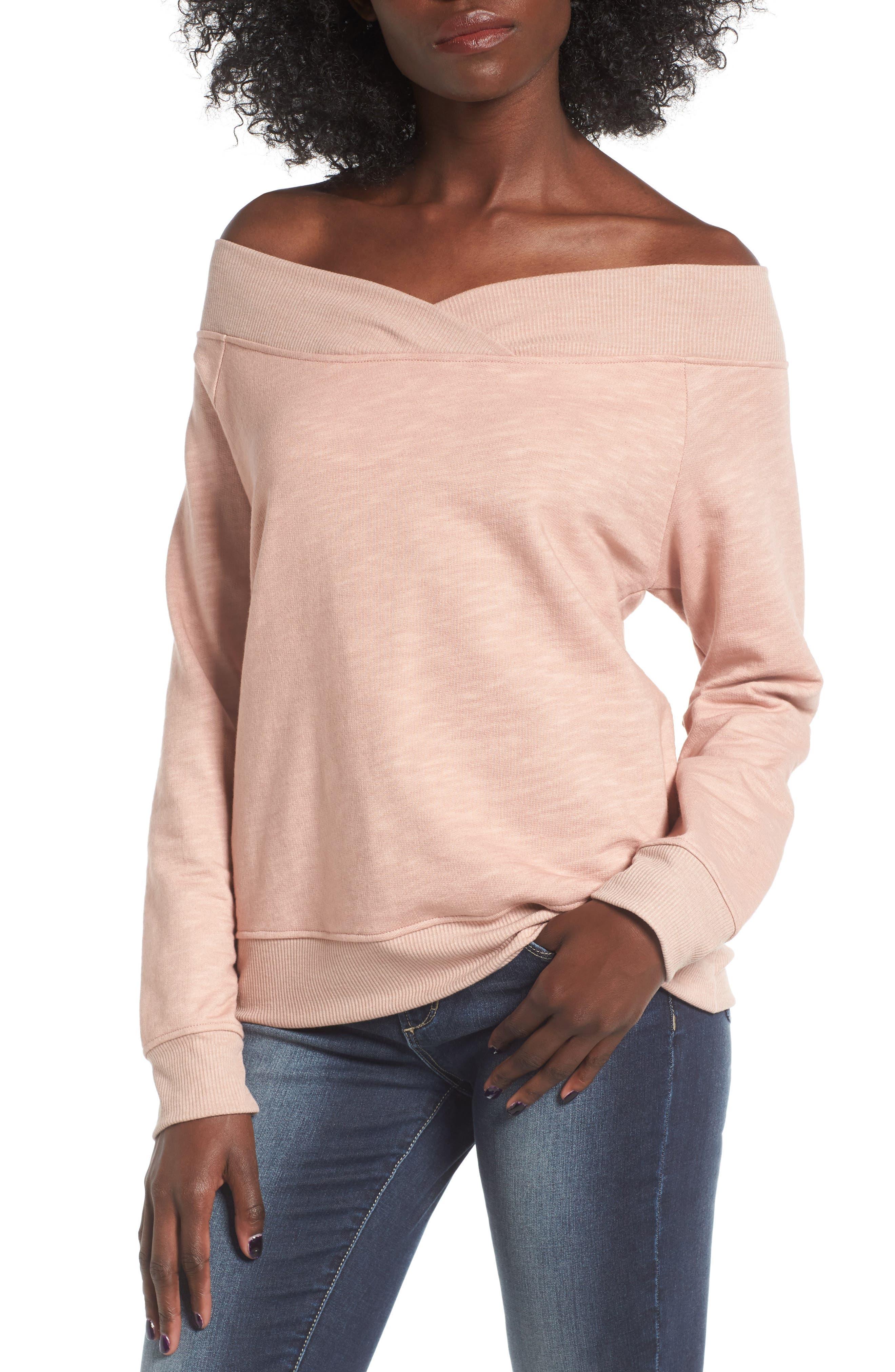 Alternate Image 1 Selected - Socialite Off the Shoulder Sweatshirt