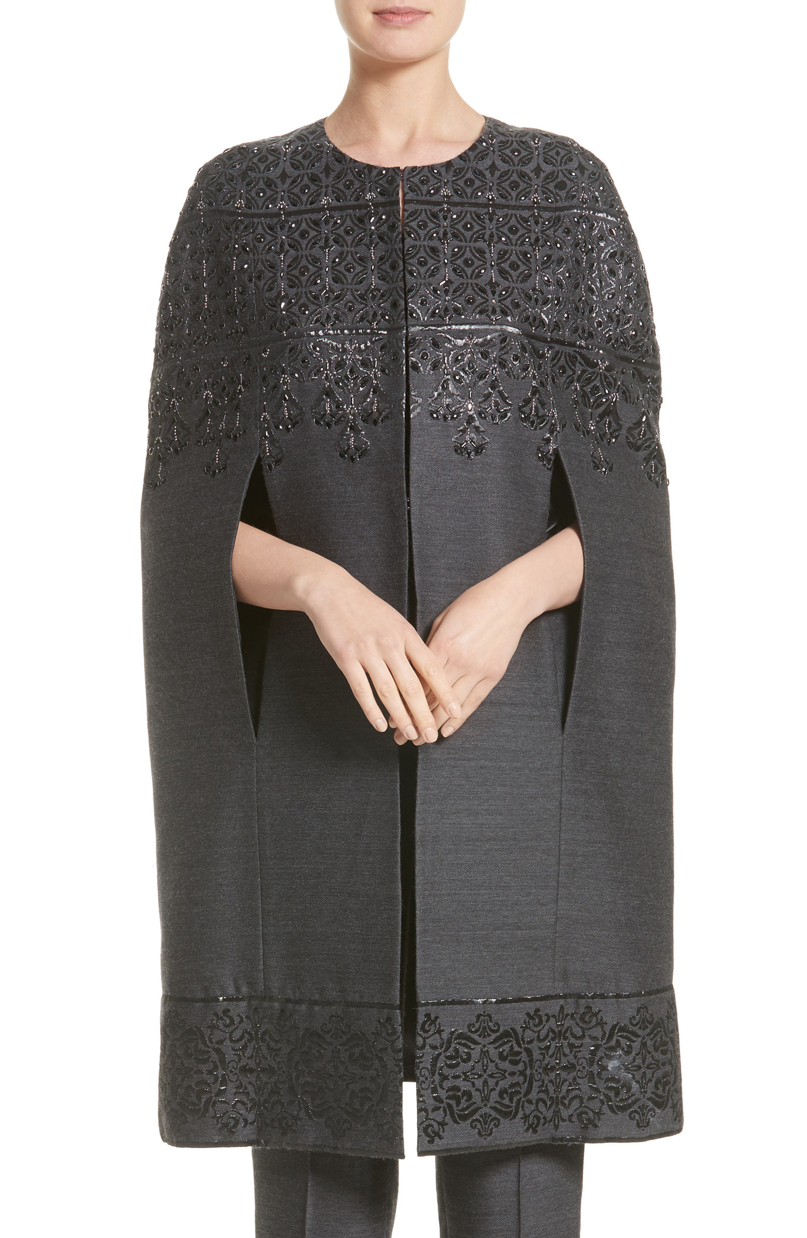 St. John Collection Embellished Shavari Jacquard Cape