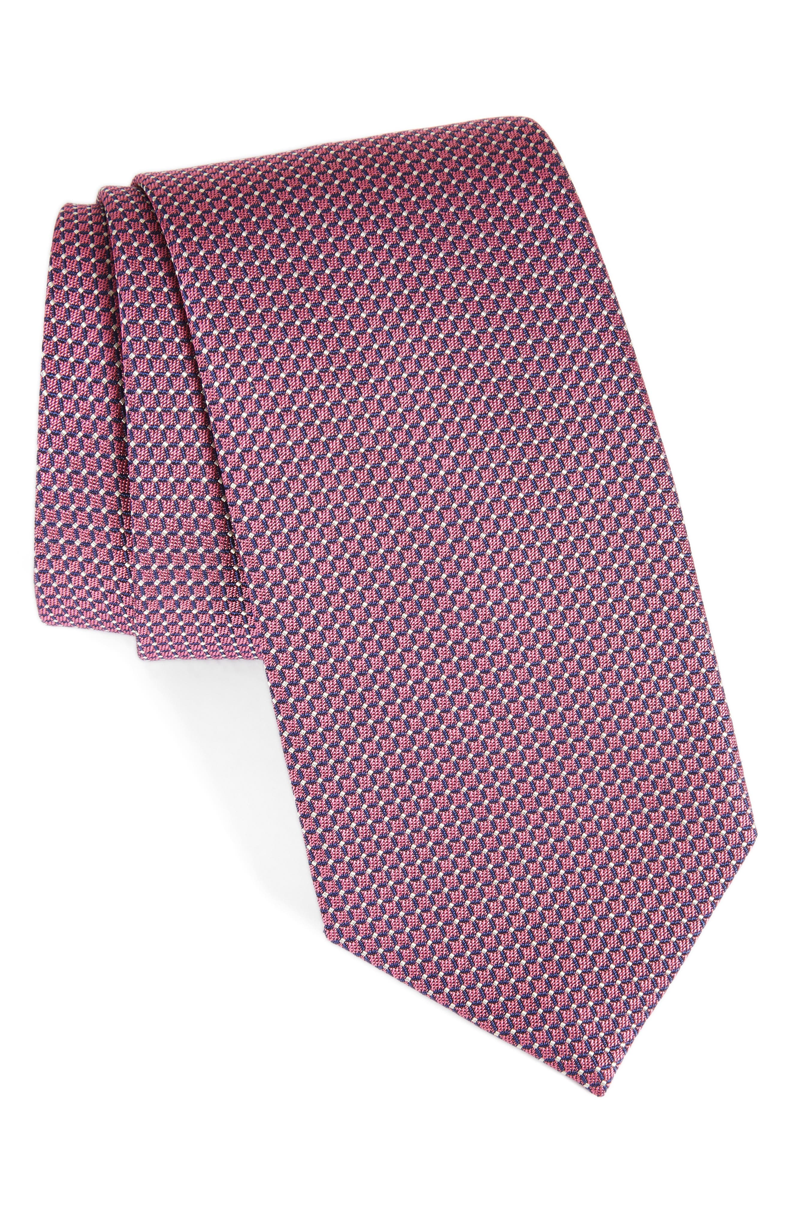 David Donahue Grid Silk & Cotton Tie
