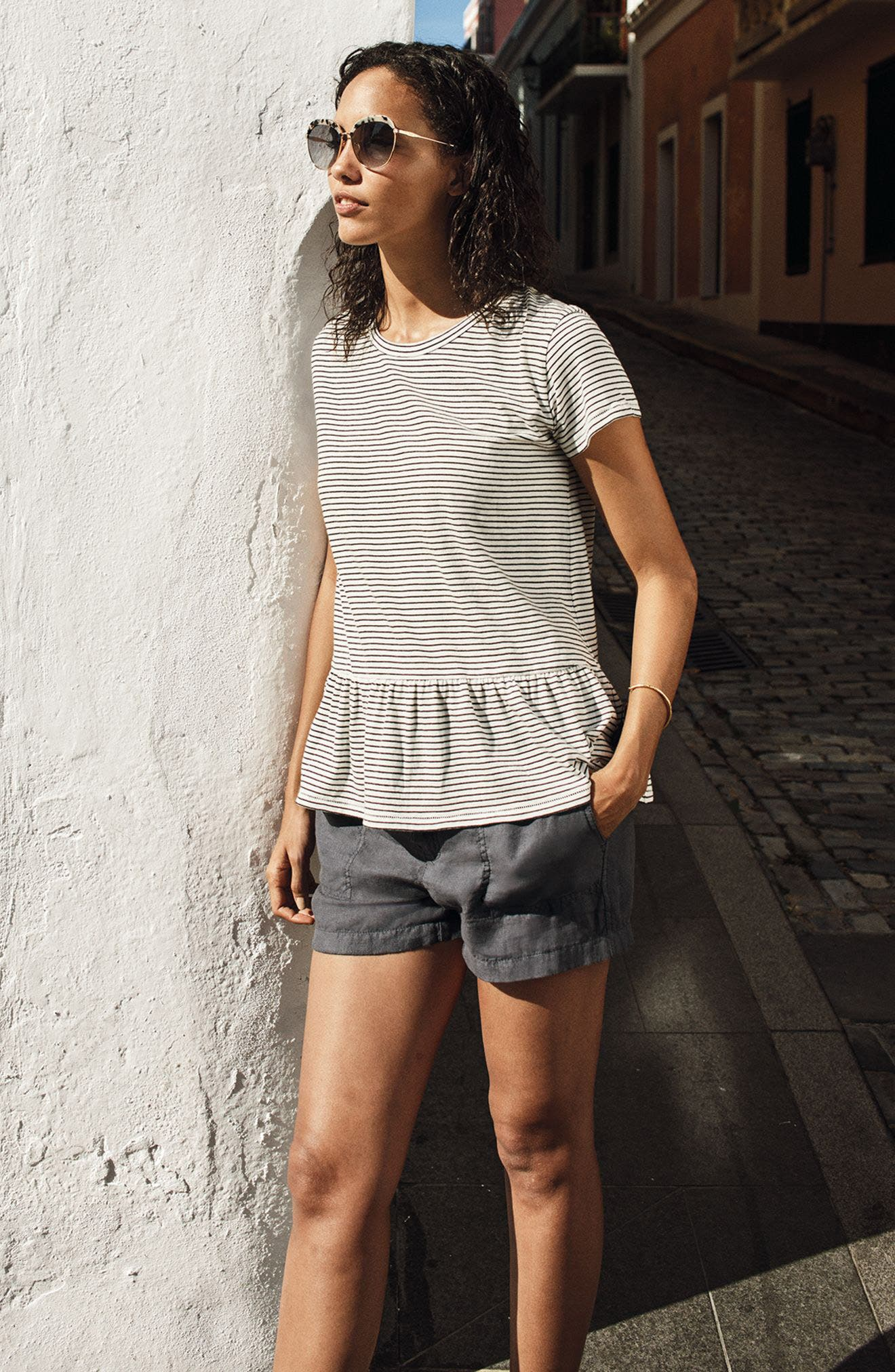 Alternate Image 2  - Caslon® Peplum Tee (Regular & Petite)