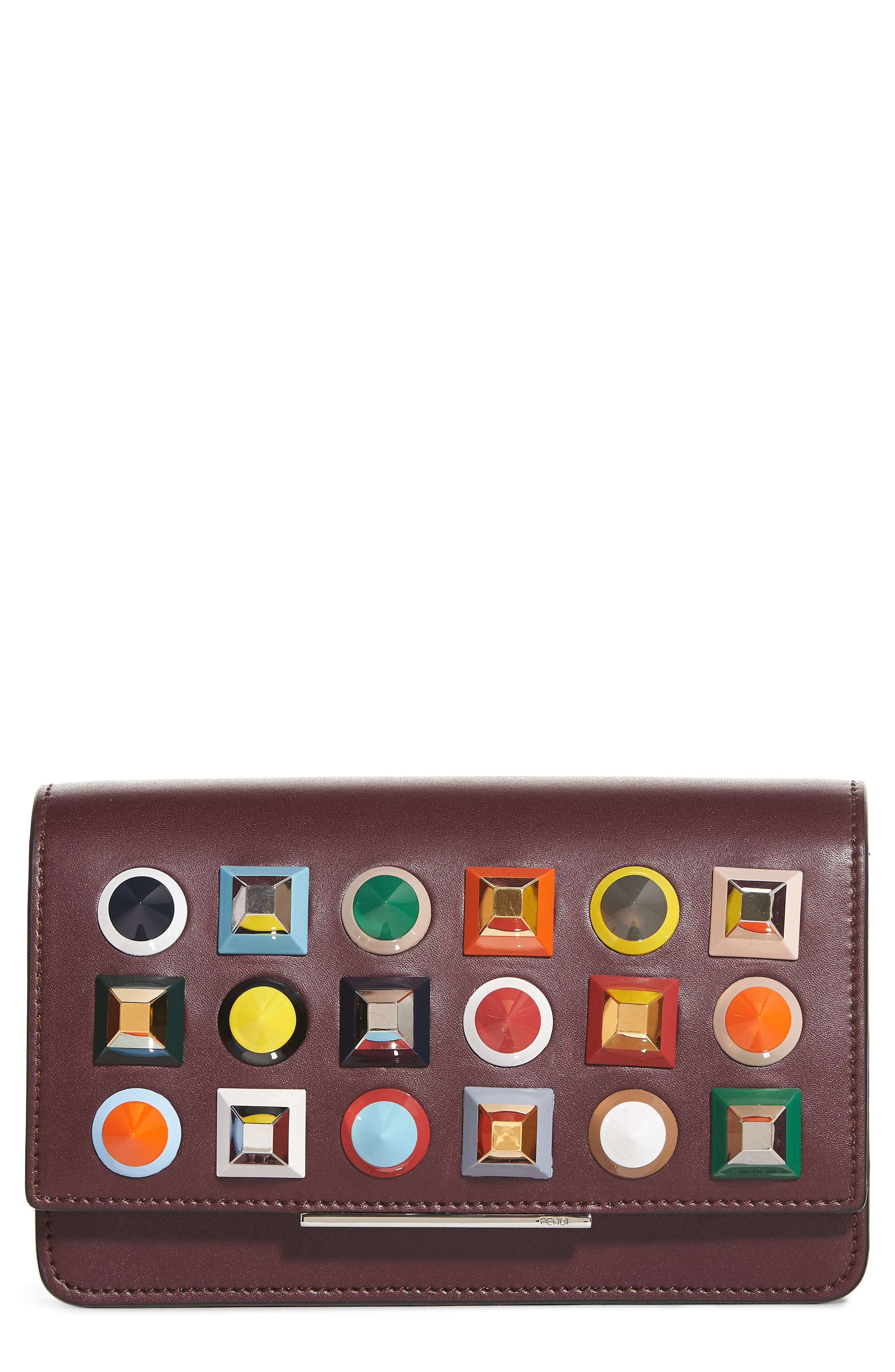 Fendi Rainbow Studded Leather Tube Wallet on a Chain