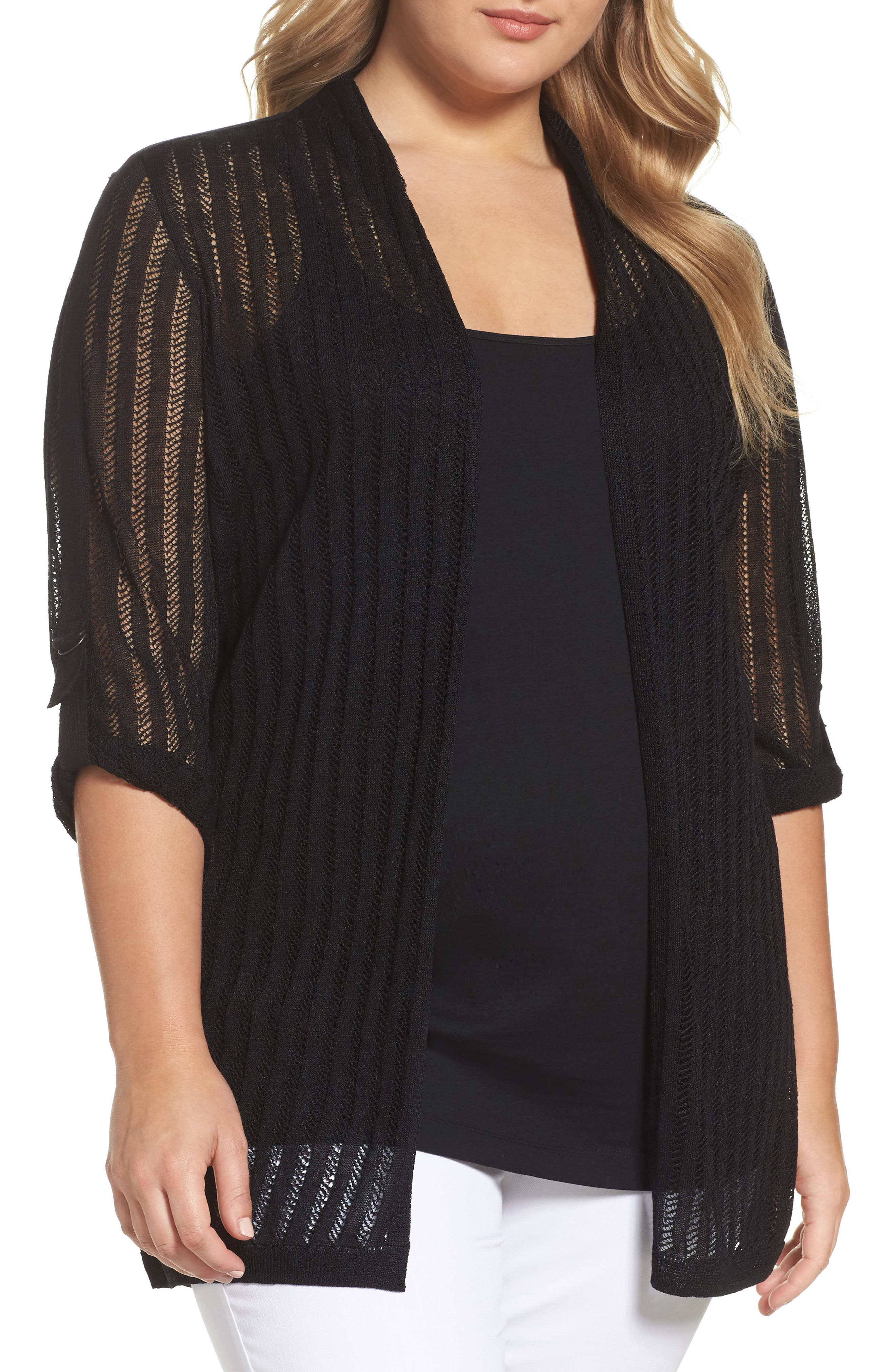 NIC+ZOE Sheer Nights Cardigan (Plus Size)