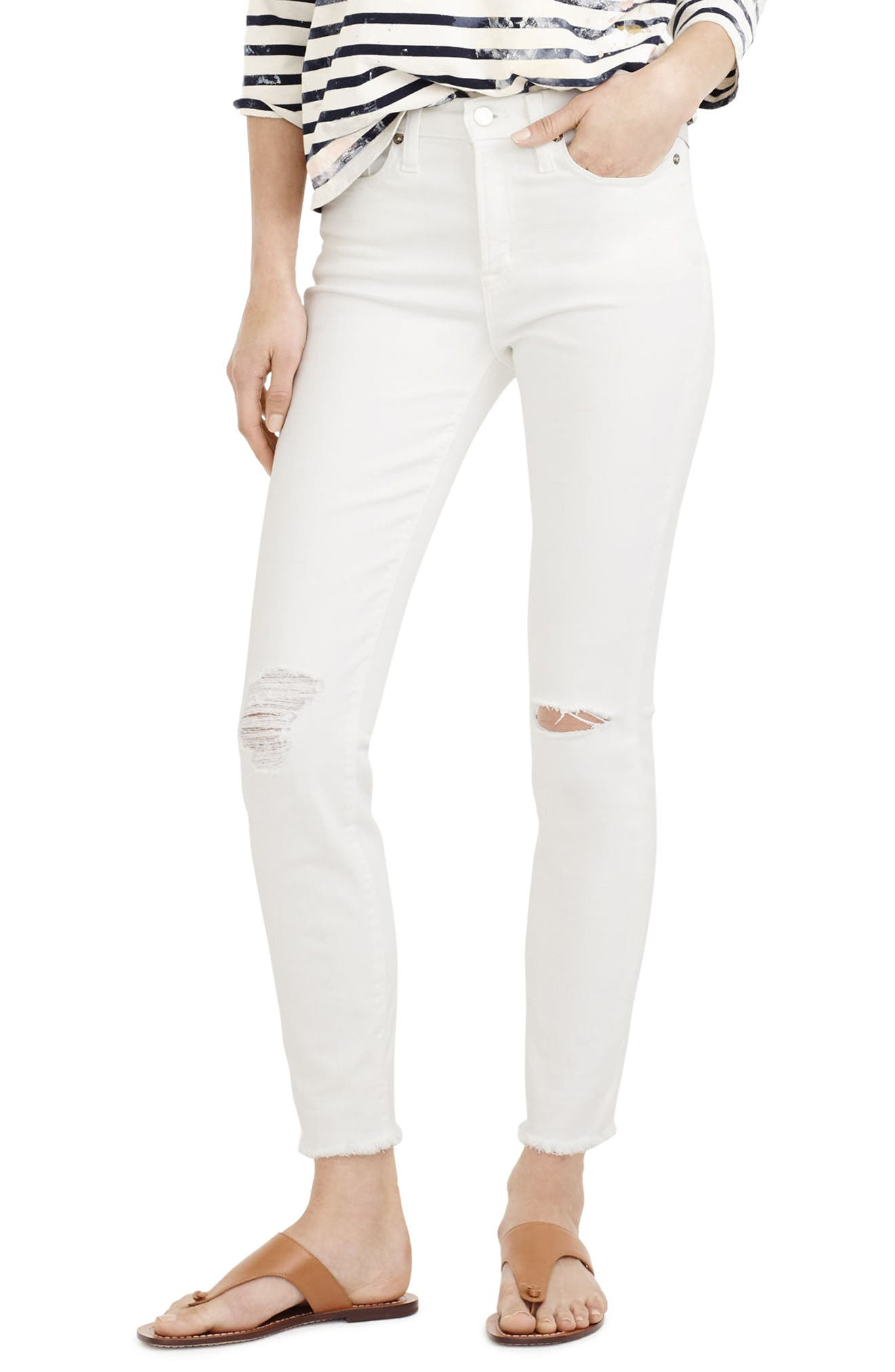 J.Crew Lookout High Waist Crop Jeans (Destroyed White) (Regular & Petite)
