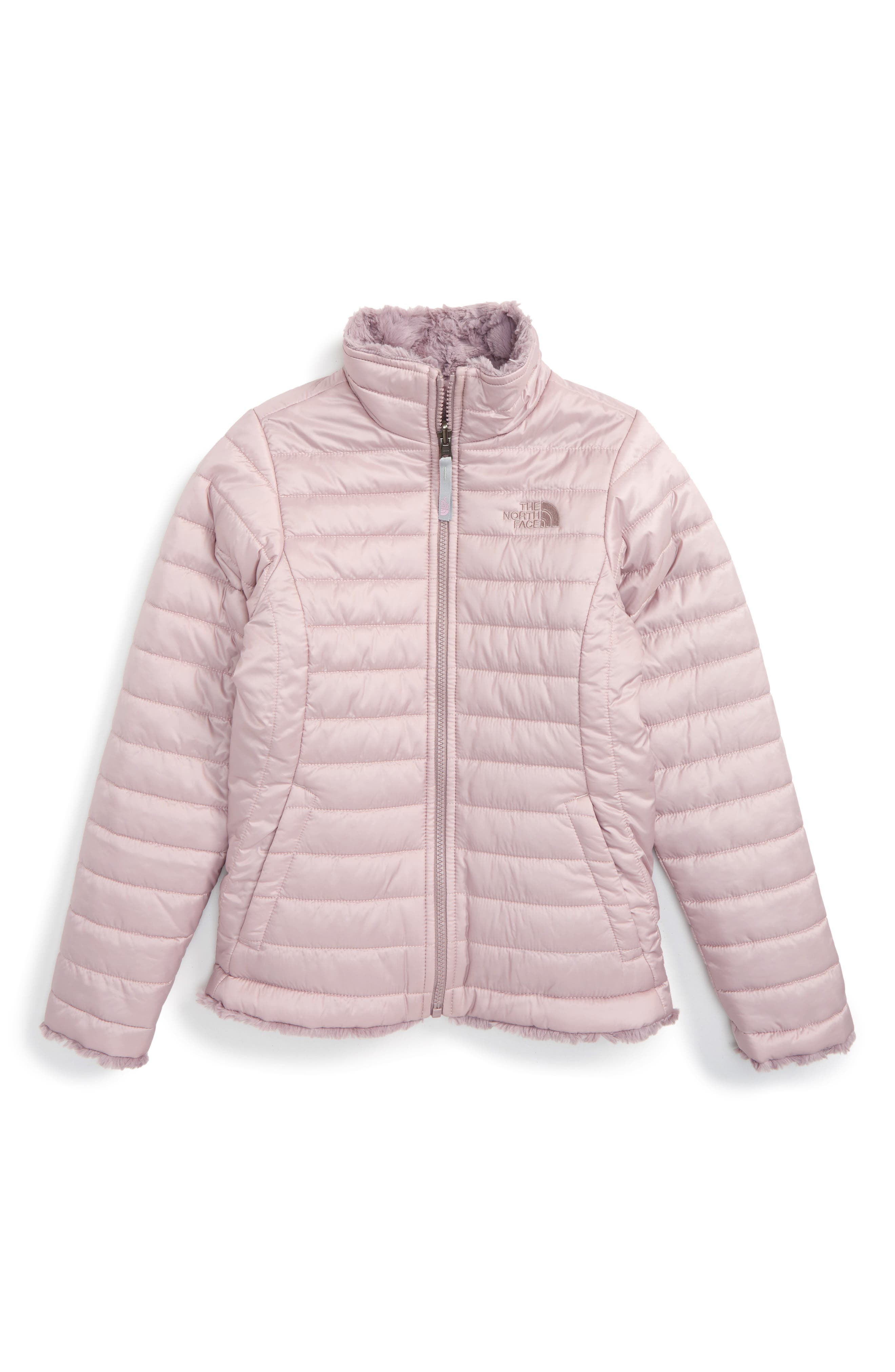 The North Face 'Mossbud Swirl' Reversible Water Resistant Jacket (Big Girls)