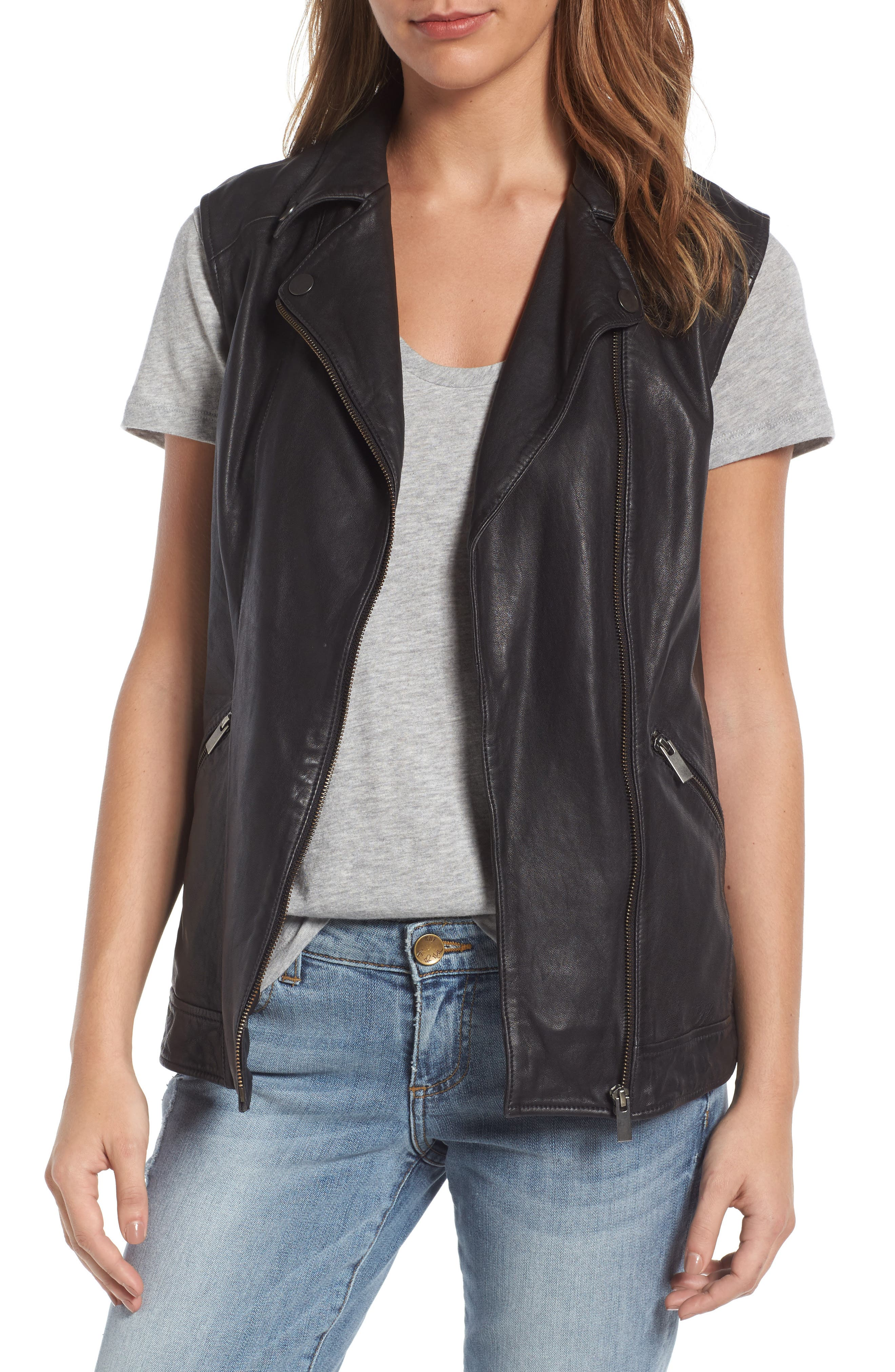 Halogen® Leather Vest (Regular & Petite)