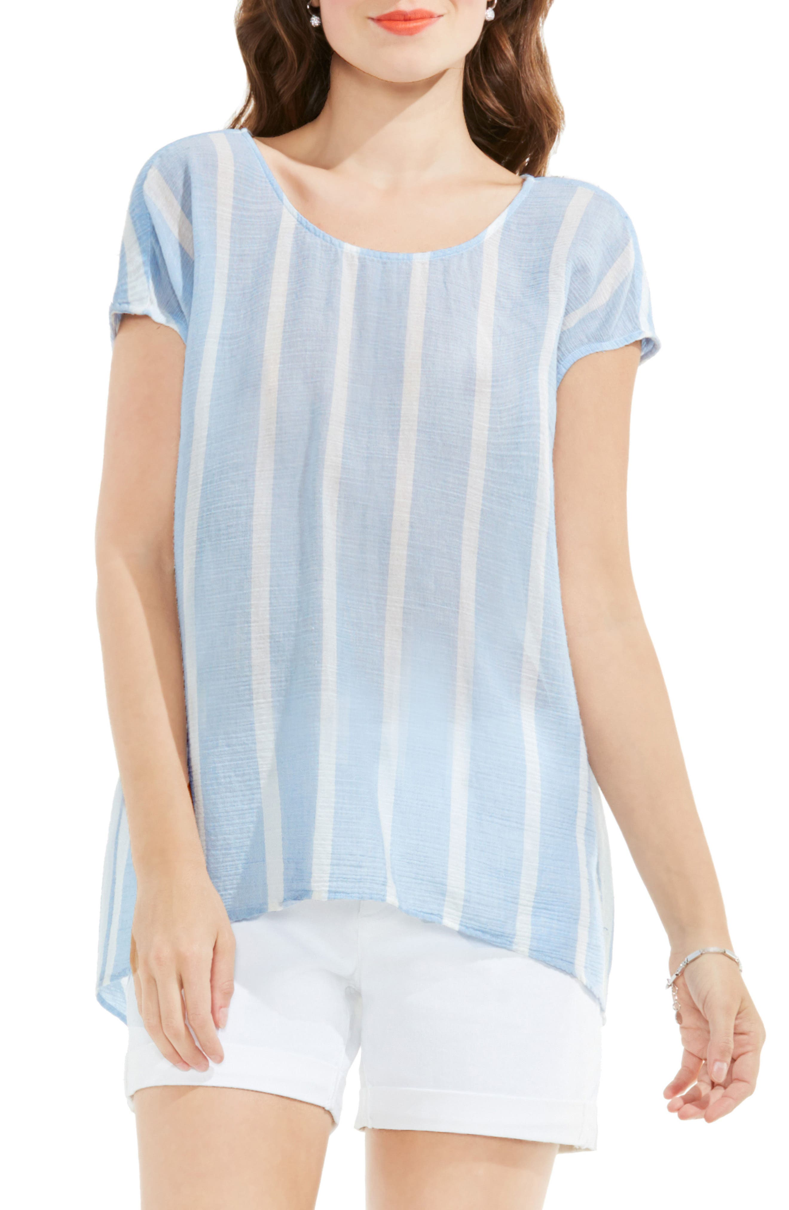 Two by Vince Camuto Stripe Gauze Blouse