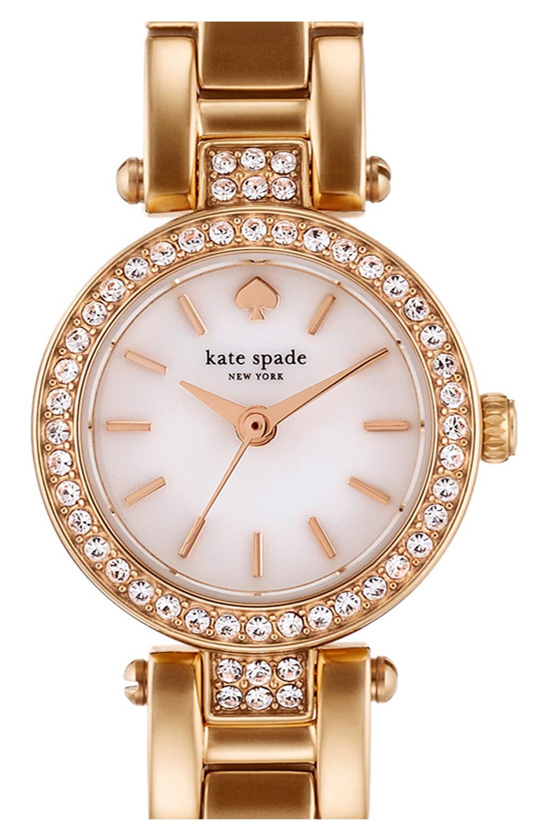 Main Image - kate spade new york 'tiny gramercy' crystal bezel bracelet watch, 20mm