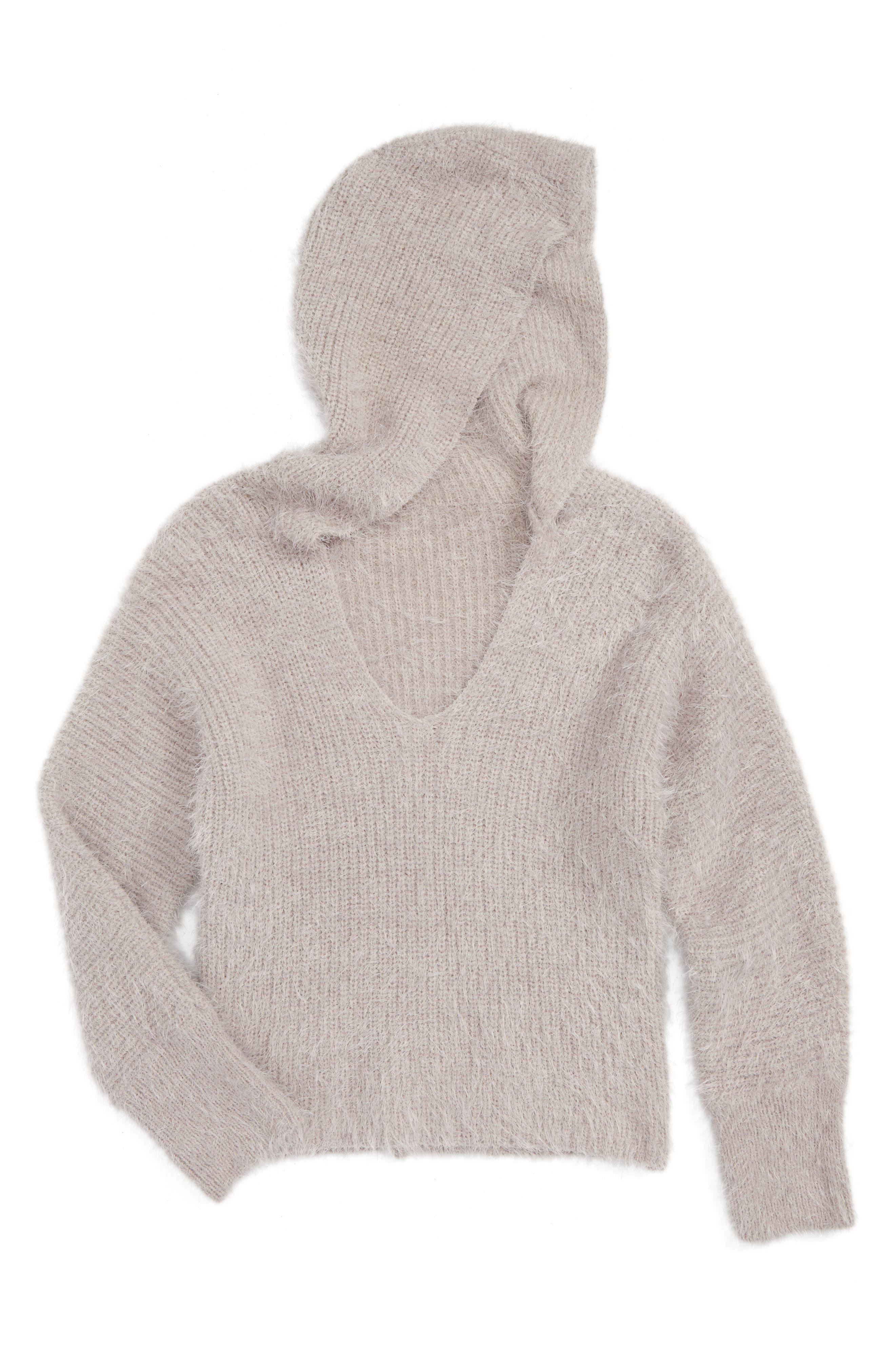 Woven Heart Hooded Sweater (Big Girls)