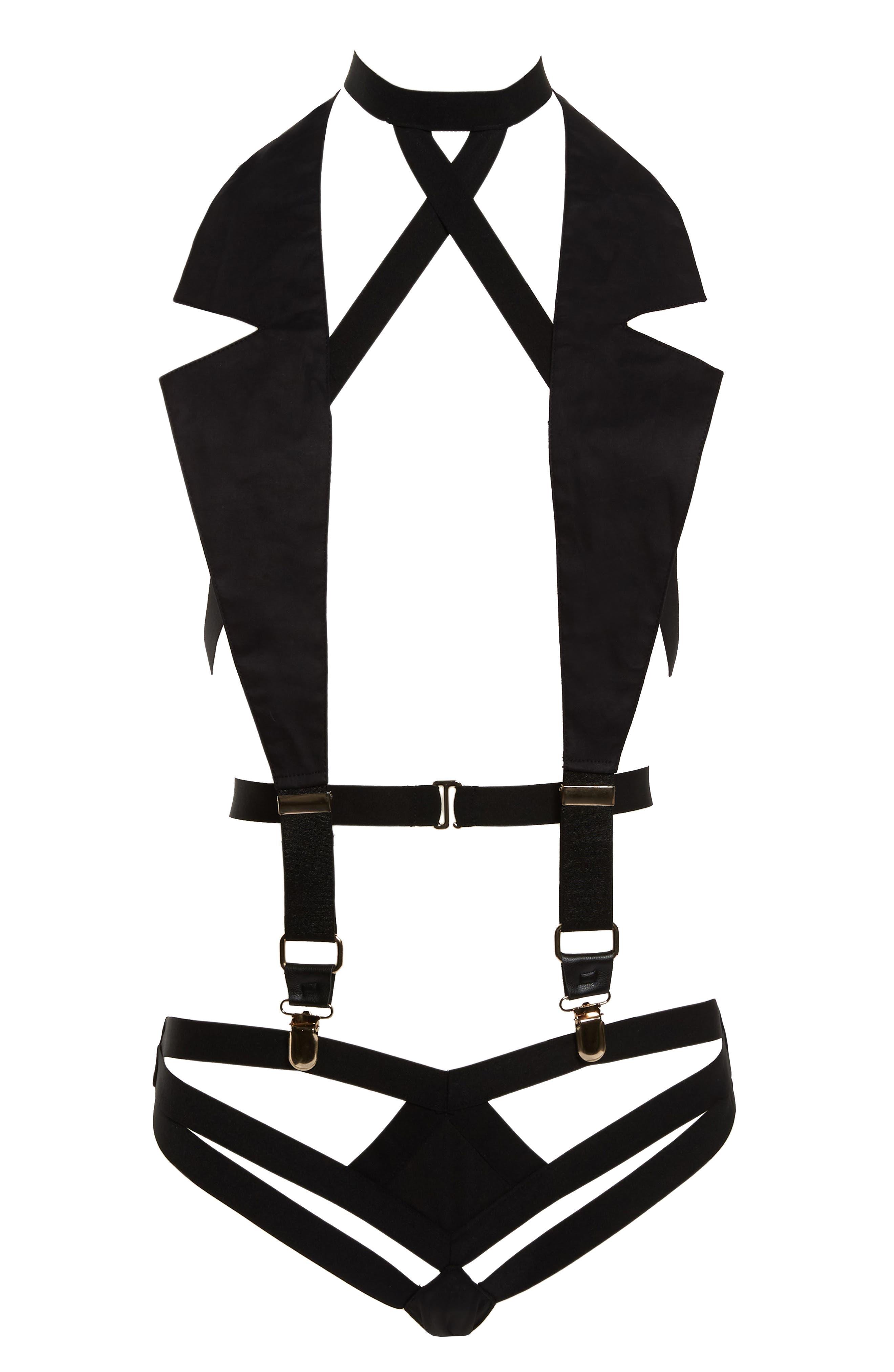 Main Image - Hauty Black Diamond Lapel Bralette & Panties