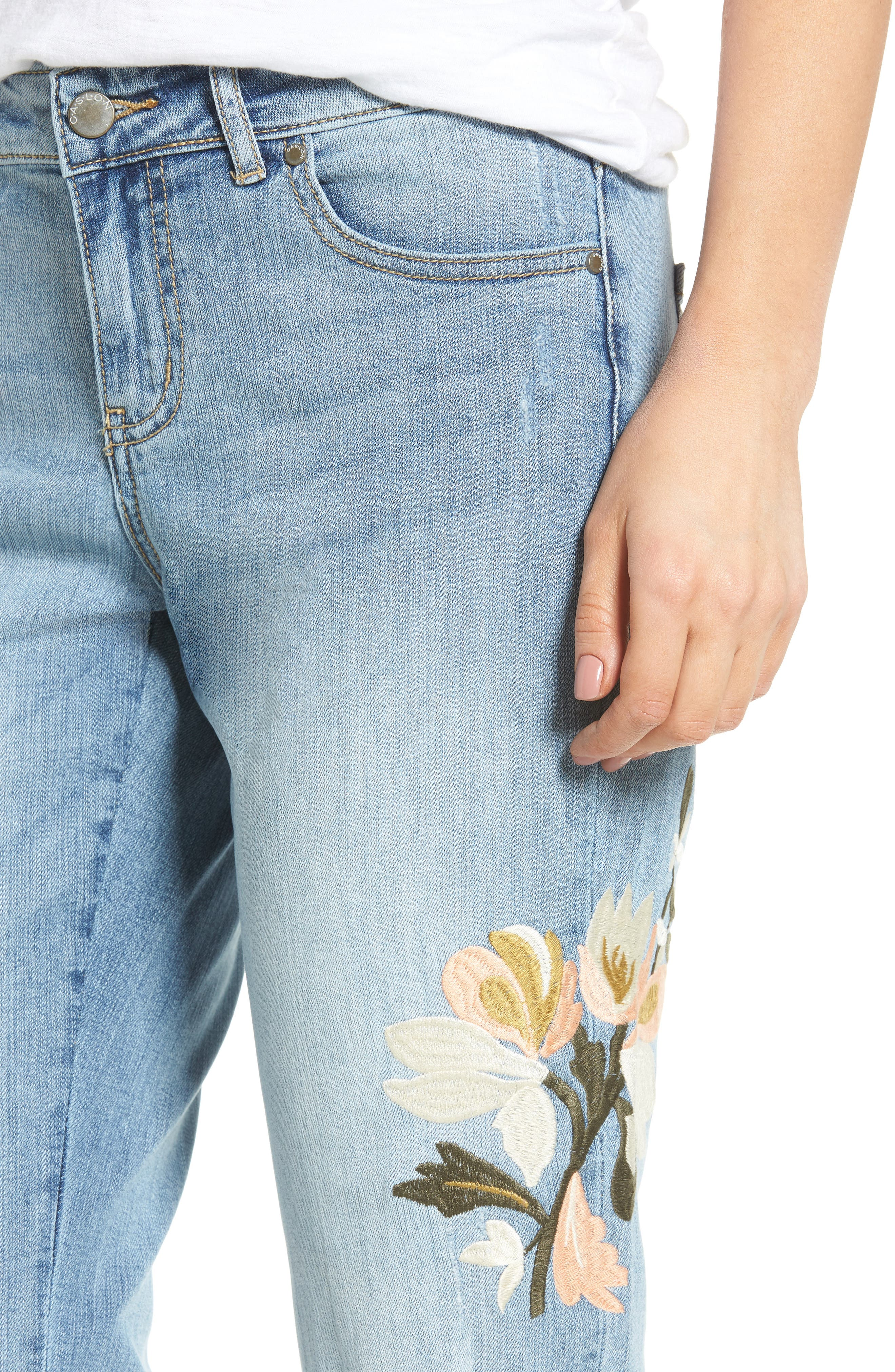 Alternate Image 5  - Caslon® Ripped & Floral Embroidered Straight Leg Jeans (Regular & Petite)