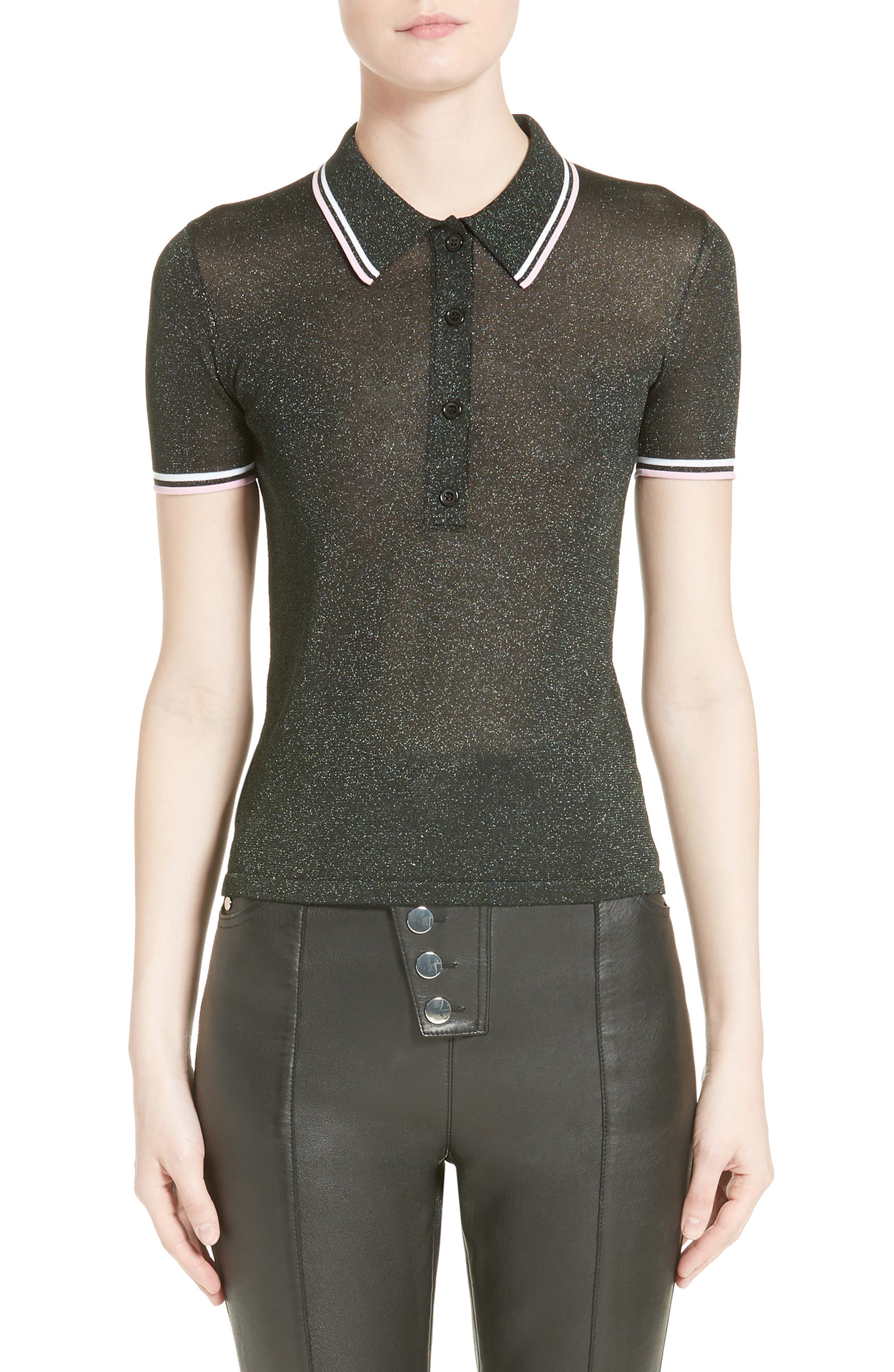 Alexander Wang Metallic Knit Polo