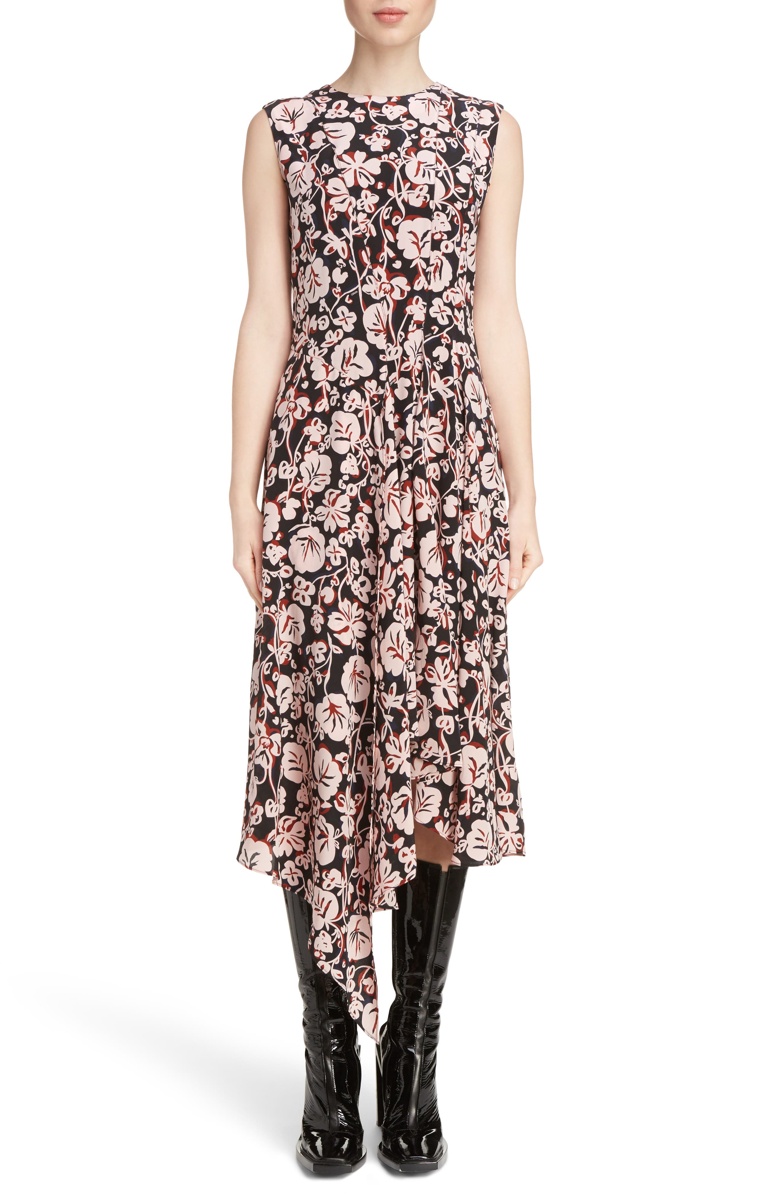 KENZO Print Silk Handkerchief Hem Dress