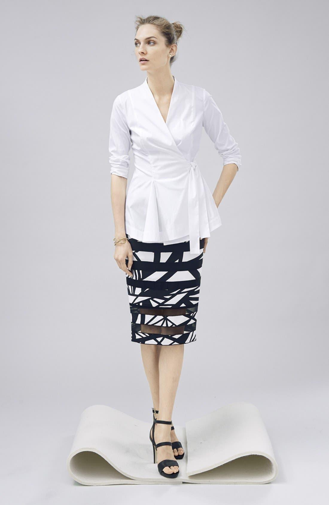 Alternate Image 4  - Lafayette 148 New York 'Modmix' Print Silk Pencil Skirt