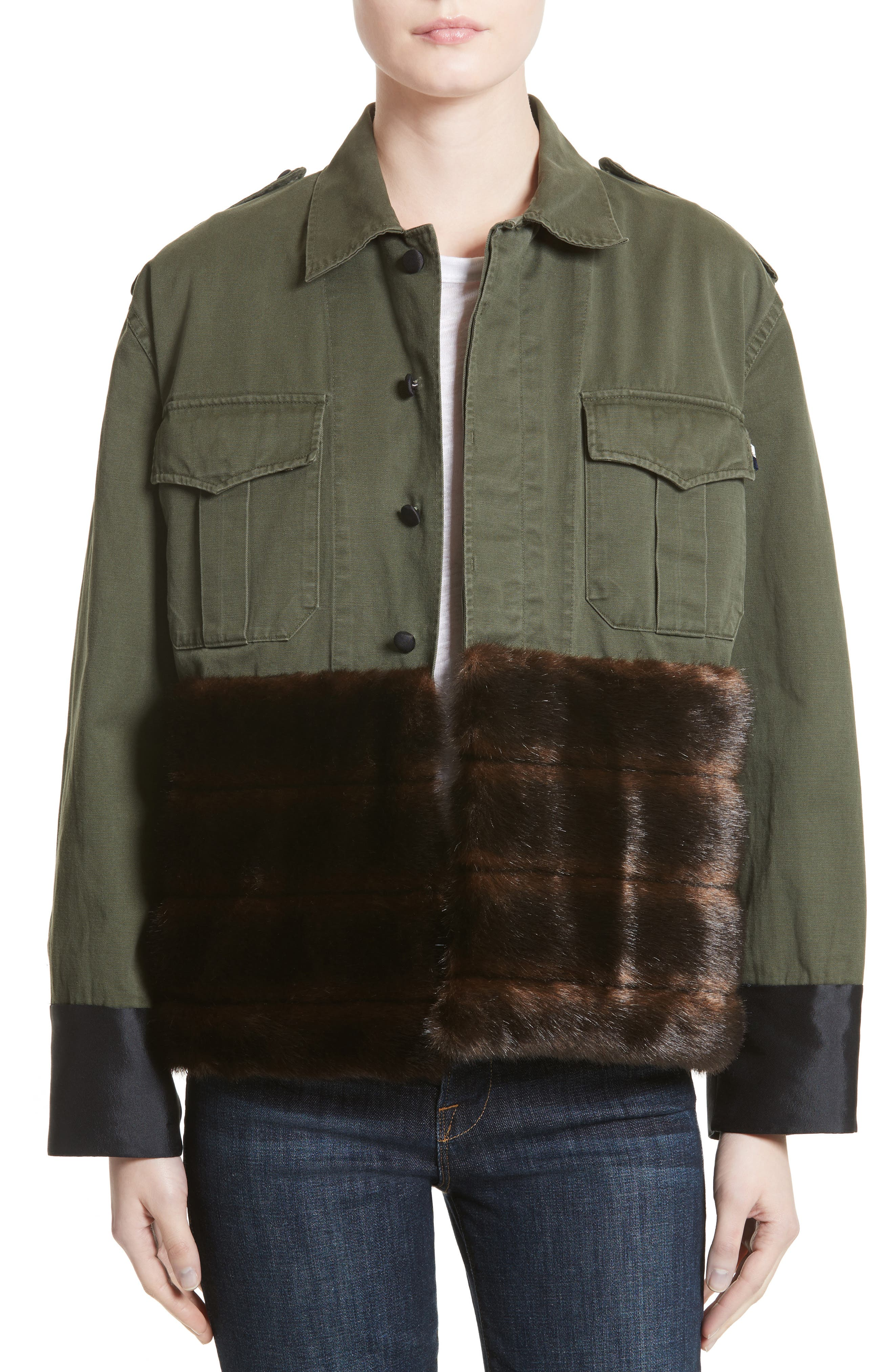 Harvey Faircloth Vintage Army Jacket with Faux Fur Trim
