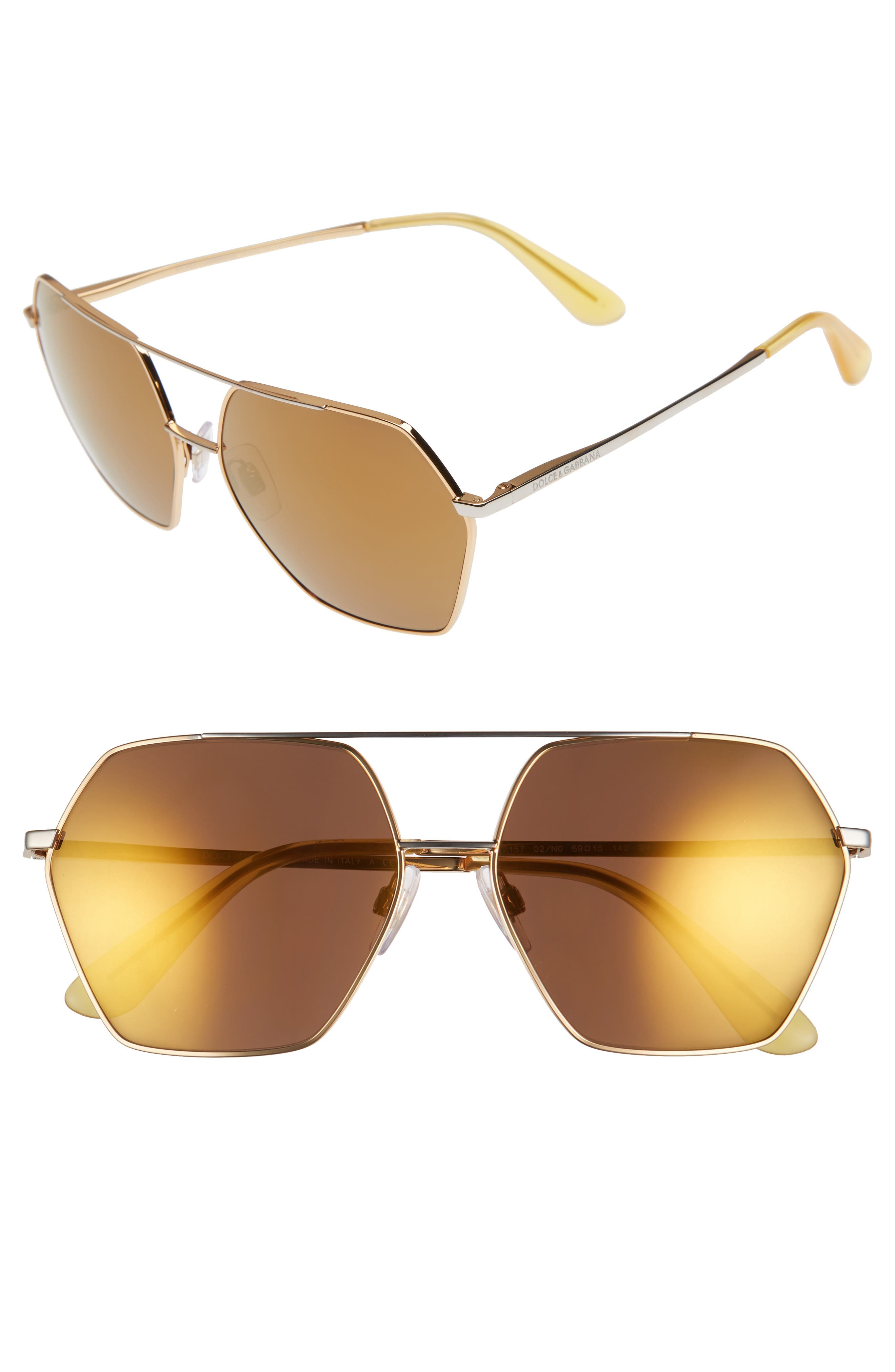 Dolce&Gabbana 59mm Mirrored Aviator Sunglasses