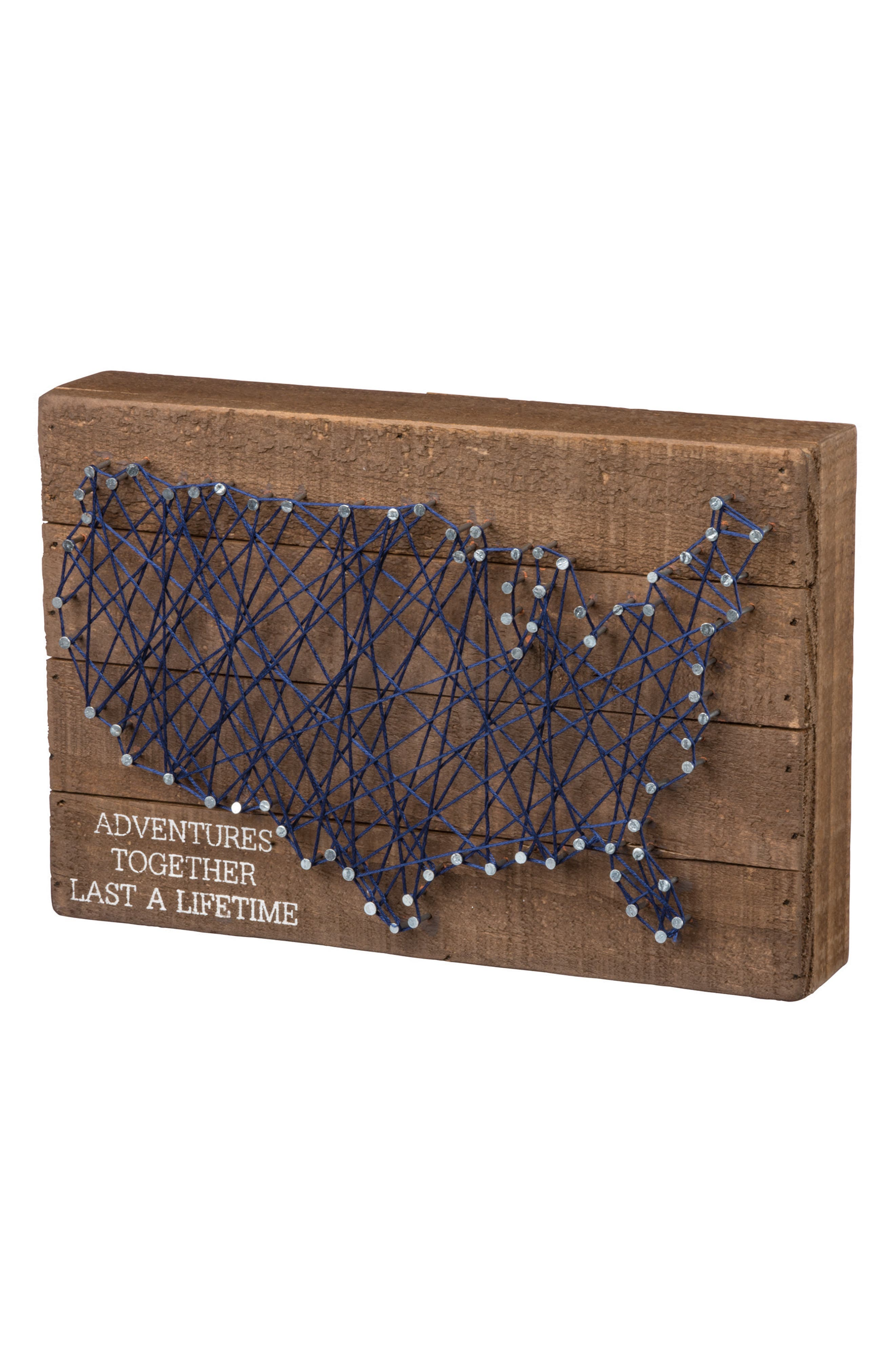 Primitives by Kathy Adventures Together Last a Lifetime String Art Box Sign