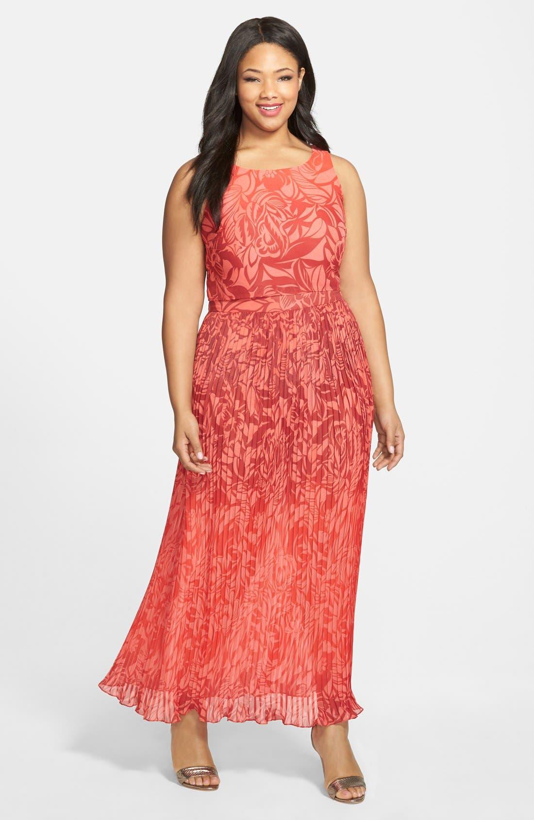 Main Image - Gabby Skye Popover Bodice Maxi Dress (Plus)