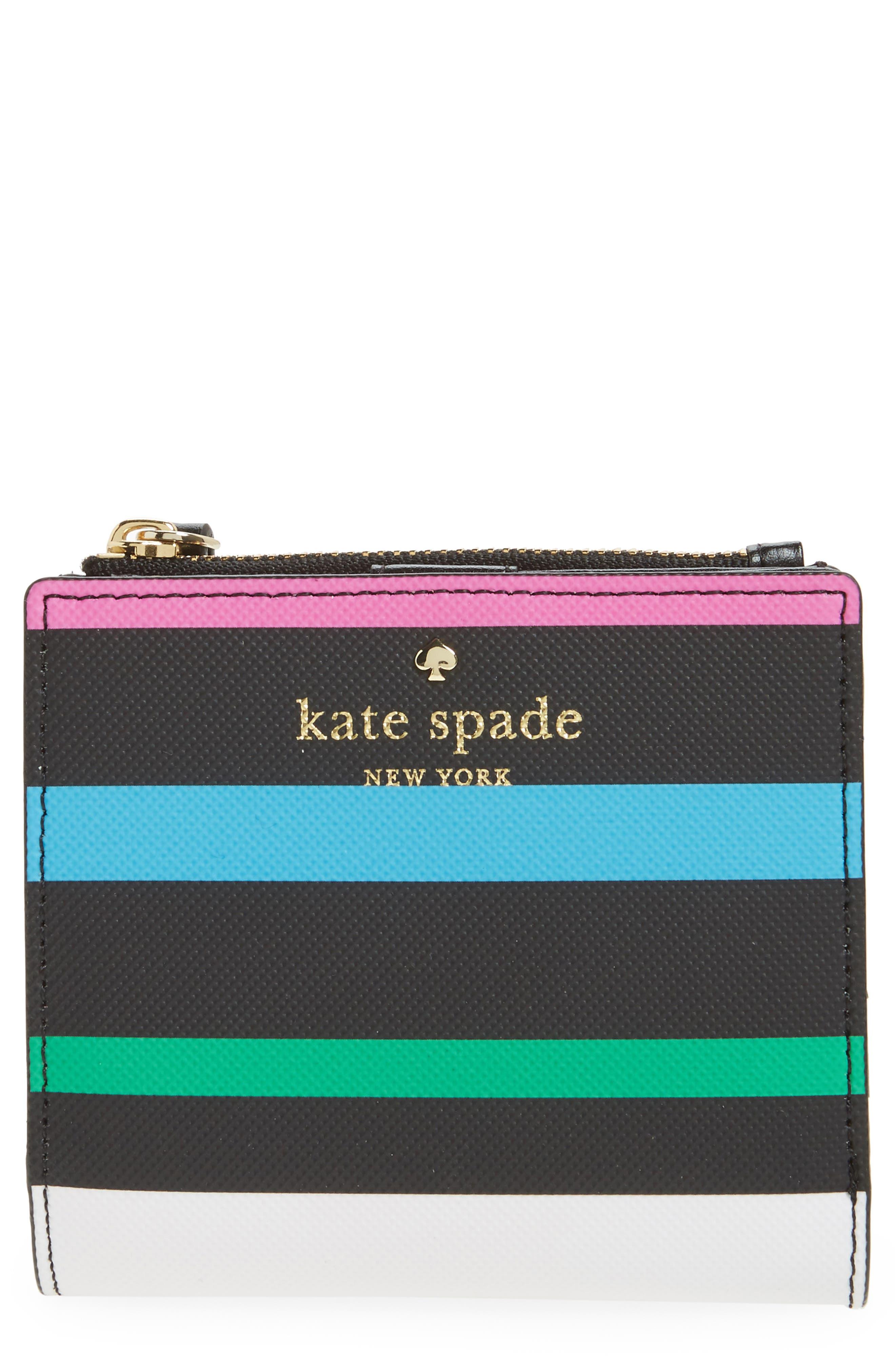 kate spade new york harding street - fiesta stripe adalyn faux leather wallet