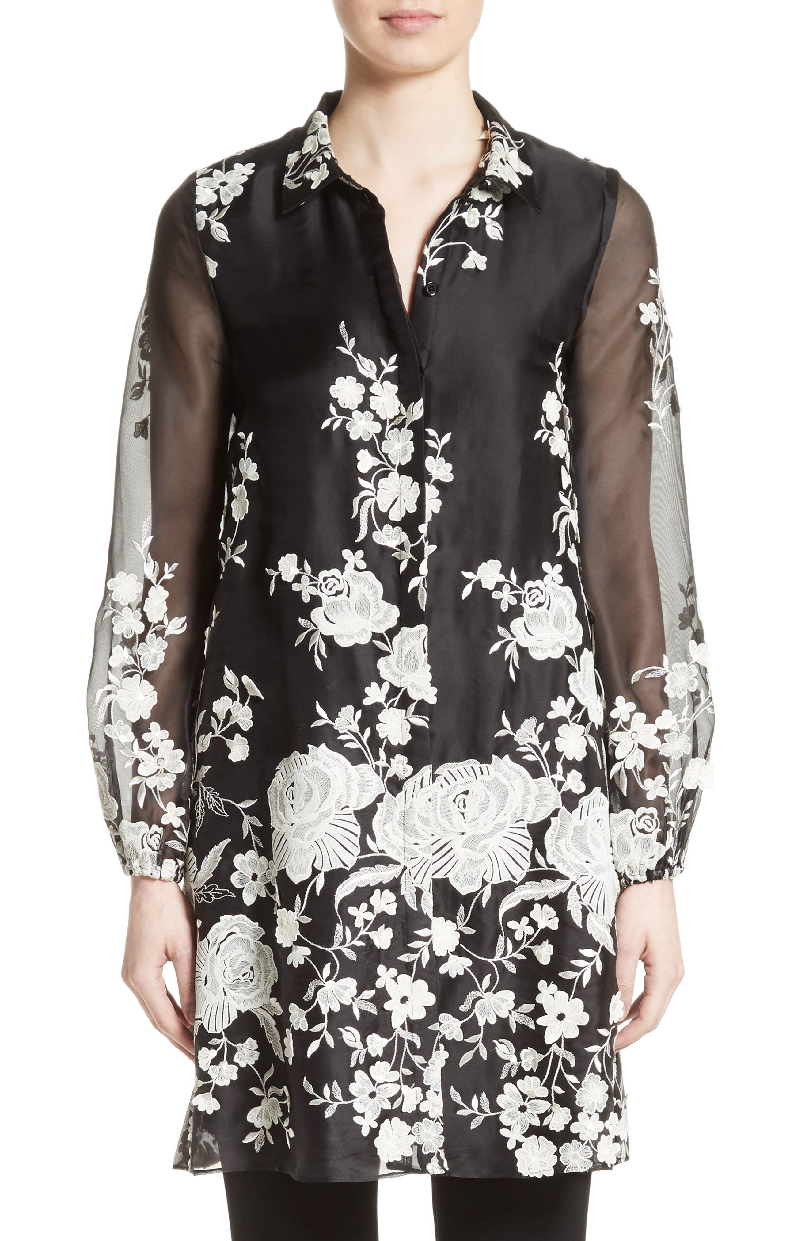 Co Floral Embellished Tunic Top