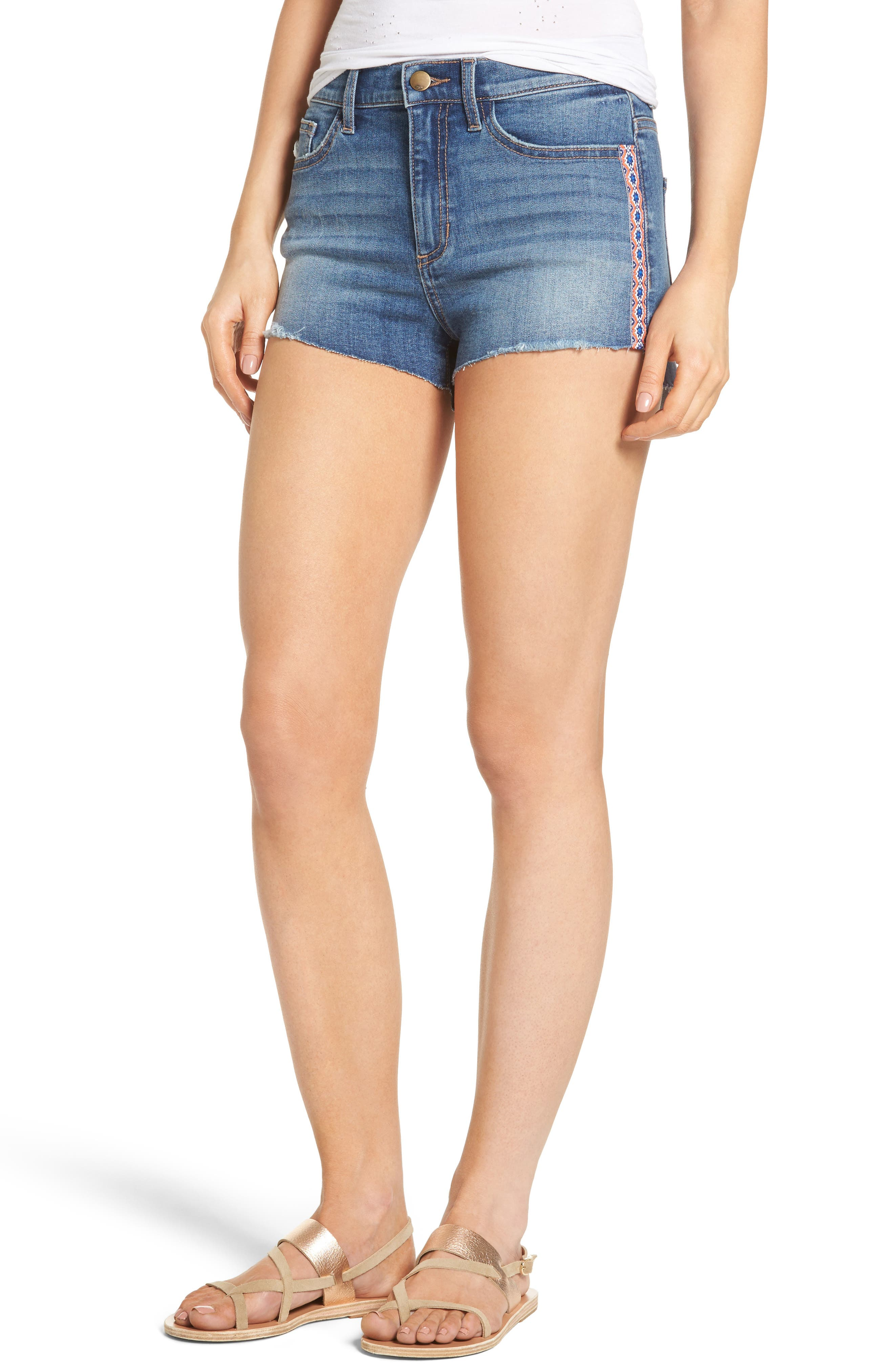 SP. Black Embroidered Trim Cutoff Denim Shorts