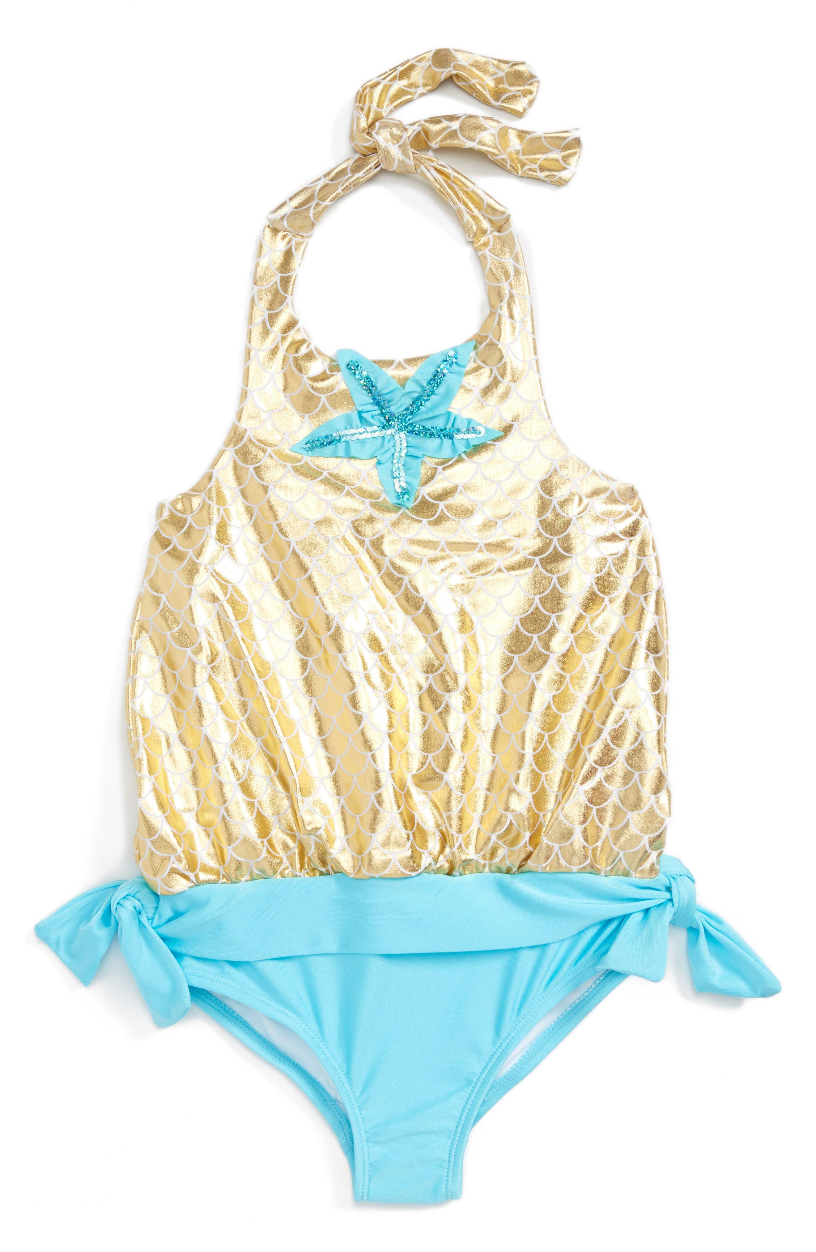 Alternate Image 1 Selected - Love U Lots Starfish One-Piece Swimsuit (Toddler Girls & Little Girls)