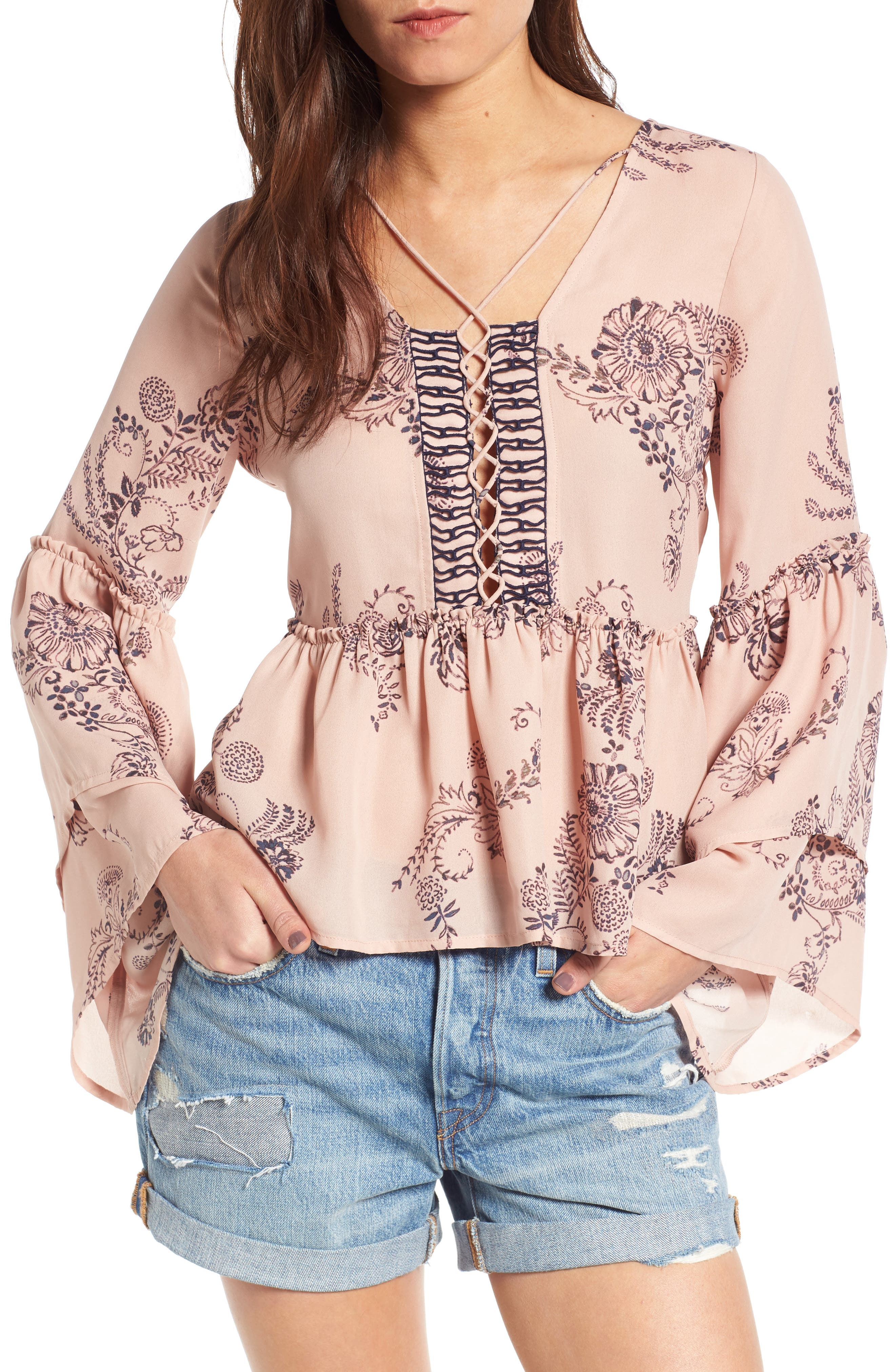 Sun & Shadow Tiered Sleeve Lace-Up Top
