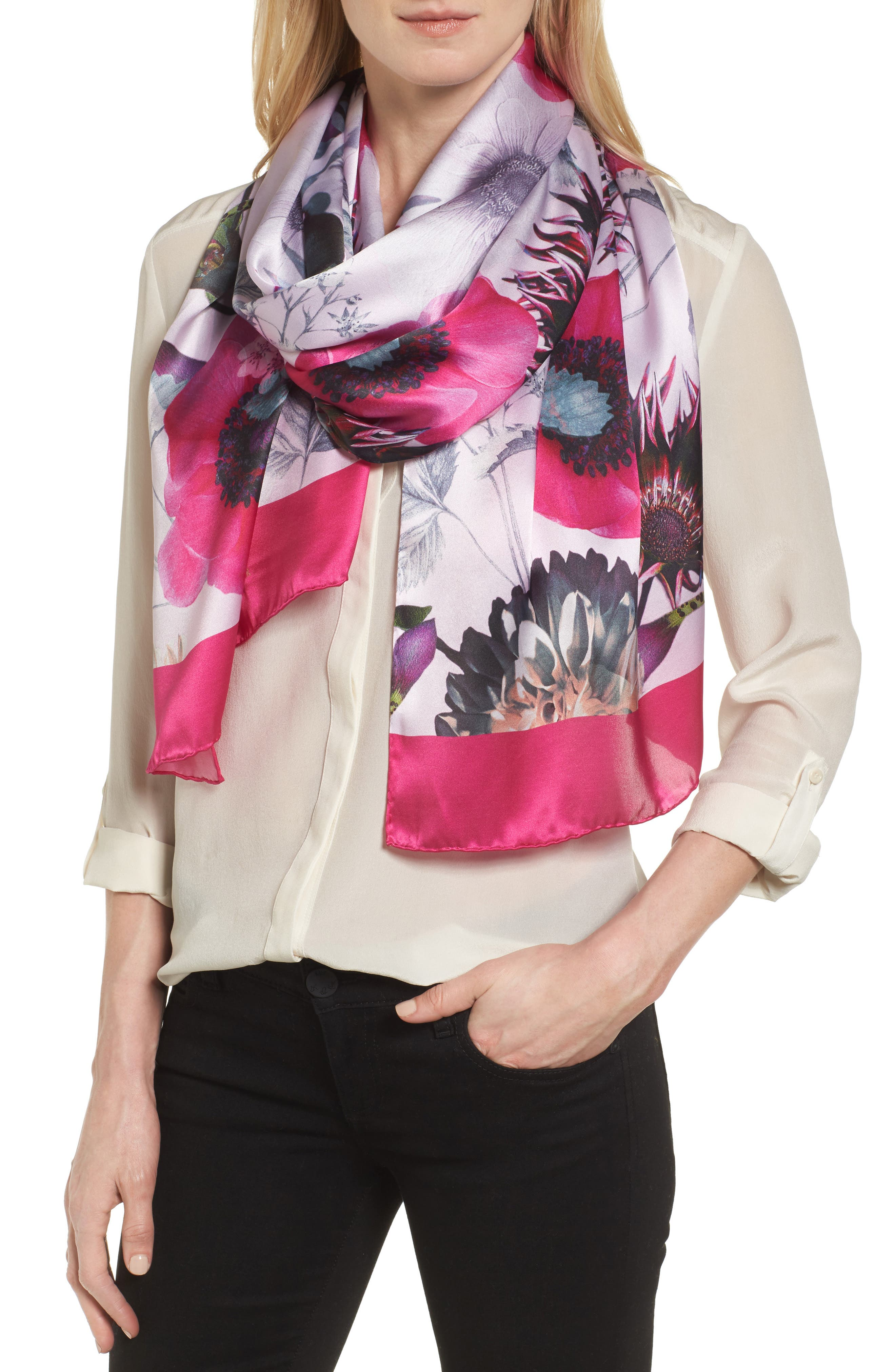 Ted Baker London Neon Poppy Long Silk Scarf