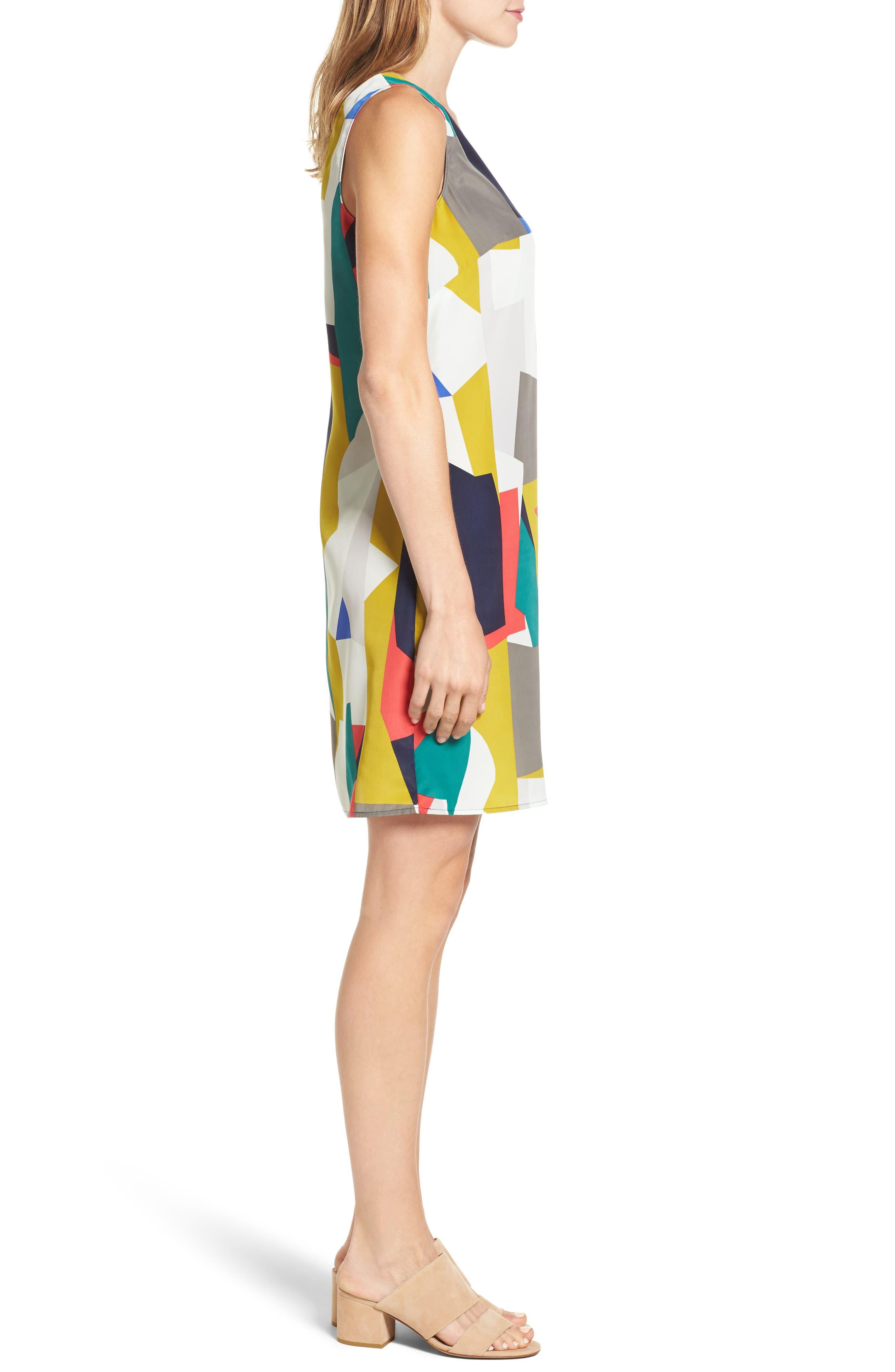 Alternate Image 3  - Halogen® V-Neck Shift Dress (Regular & Petite)