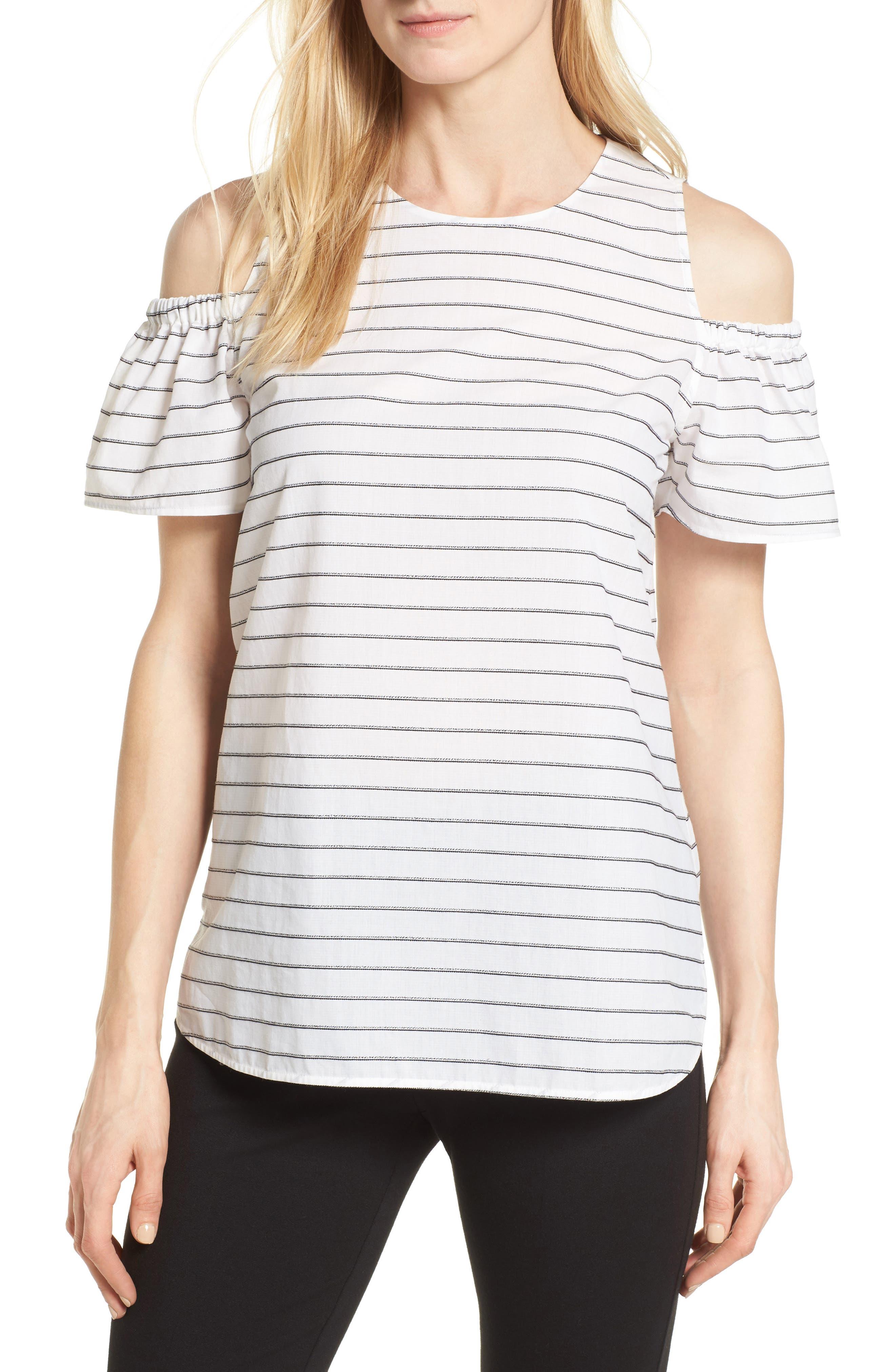 Nordstrom Collection Stripe Cold Shoulder Top