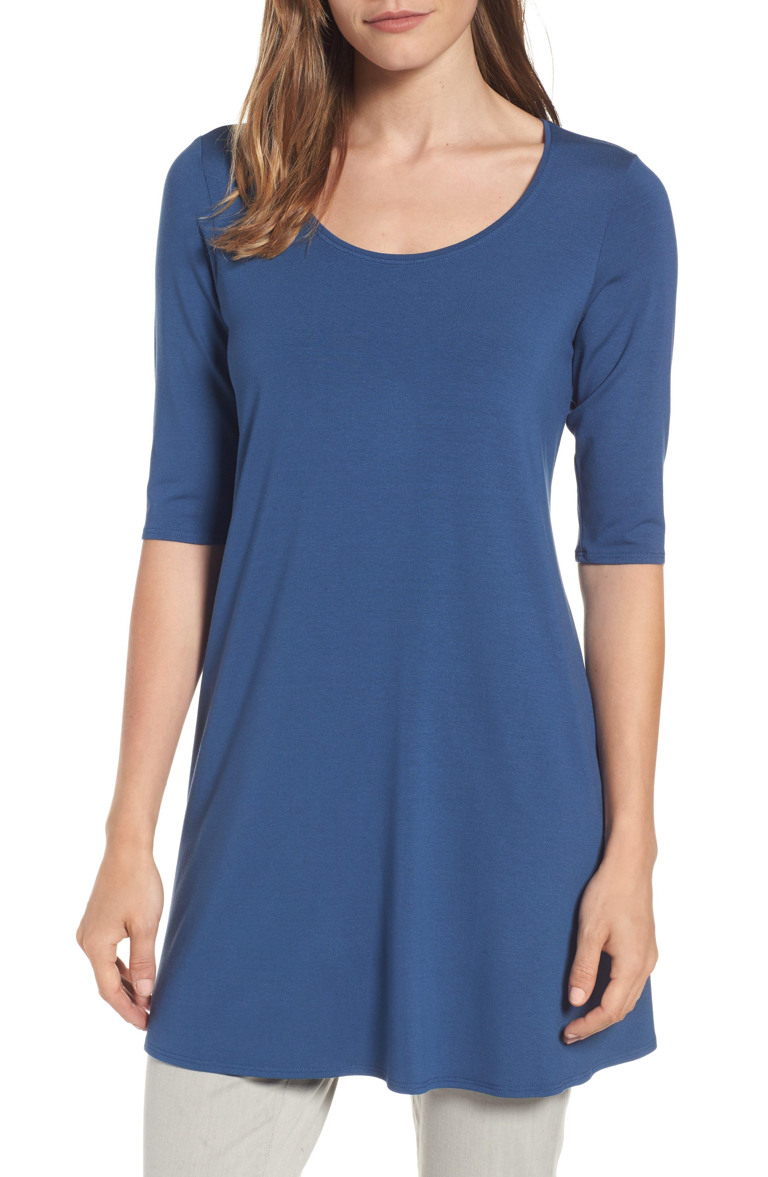 Eileen Fisher Scoop Neck Elbow Sleeve Jersey Tunic (Regular & Petite) (Online Only)