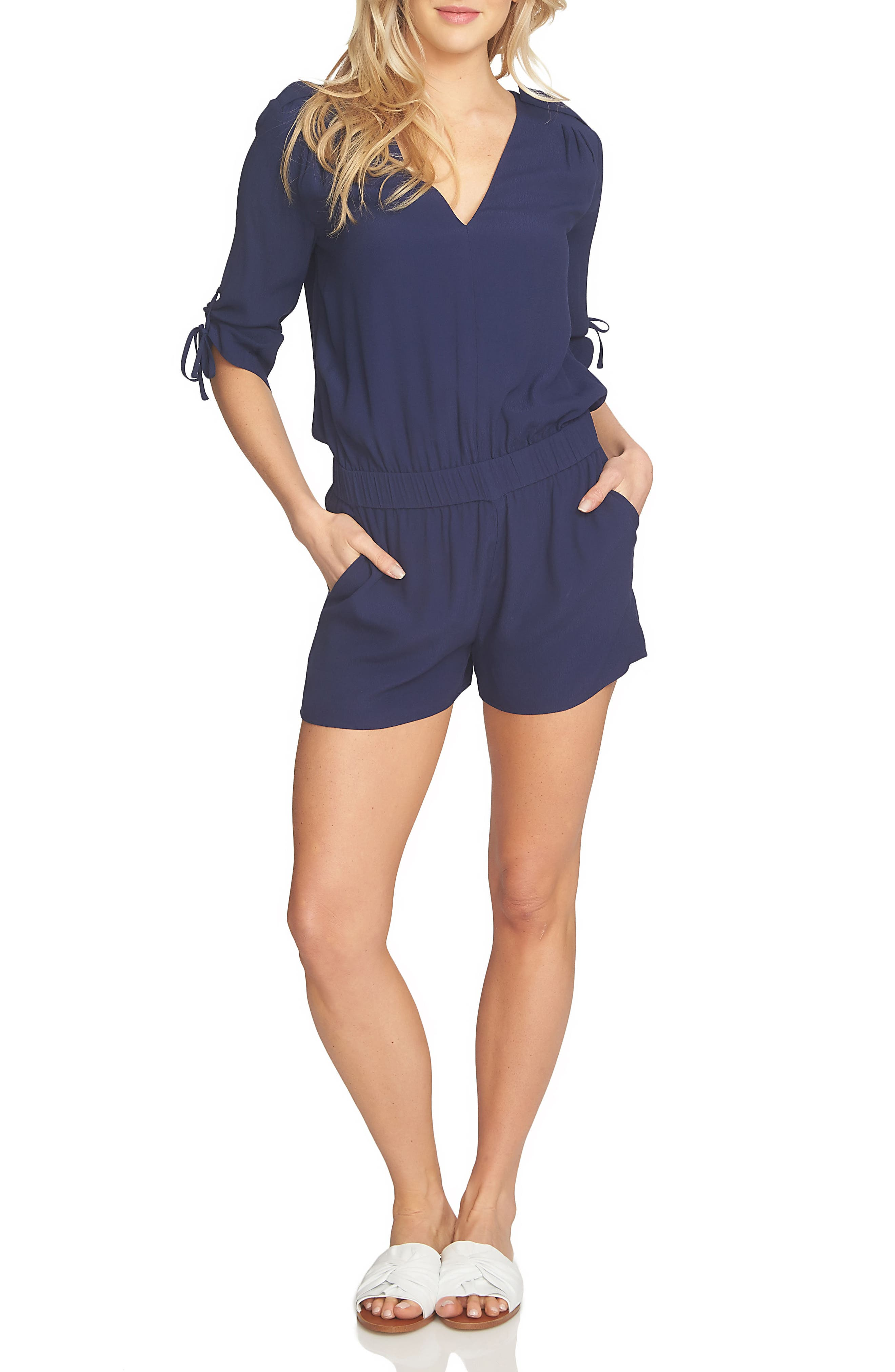 1.STATE Drawstring Sleeve Romper