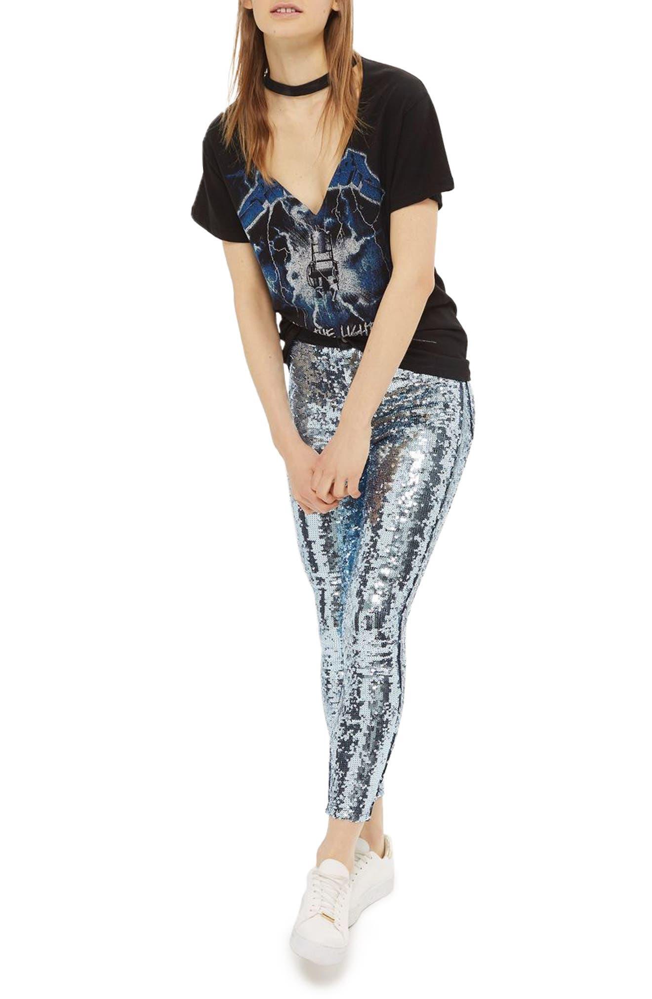 Topshop Joni Disco Sequin Skinny Jeans