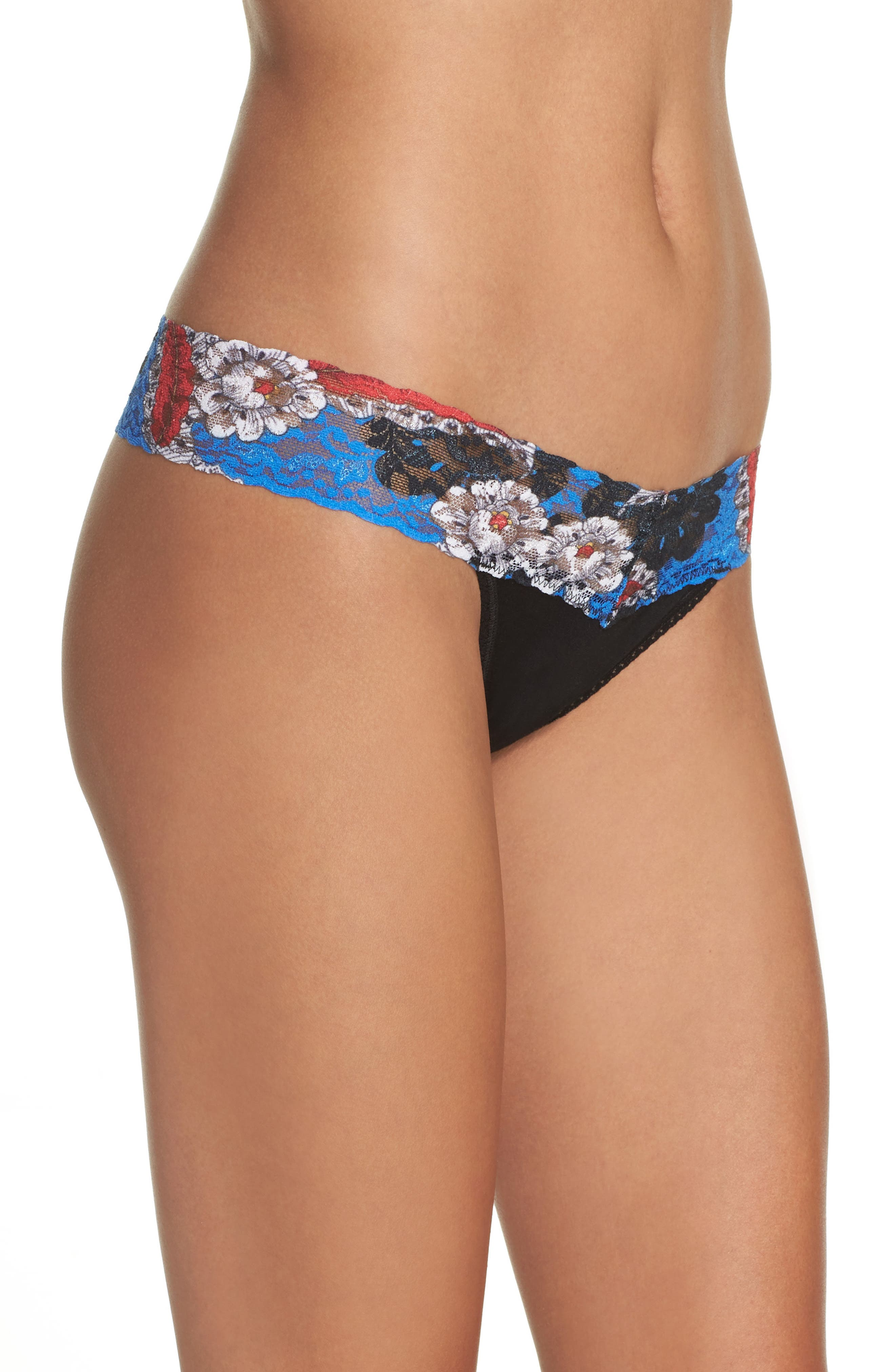Alternate Image 3  - Hanky Panky Mid Rise Modal Thong with Lace Trim