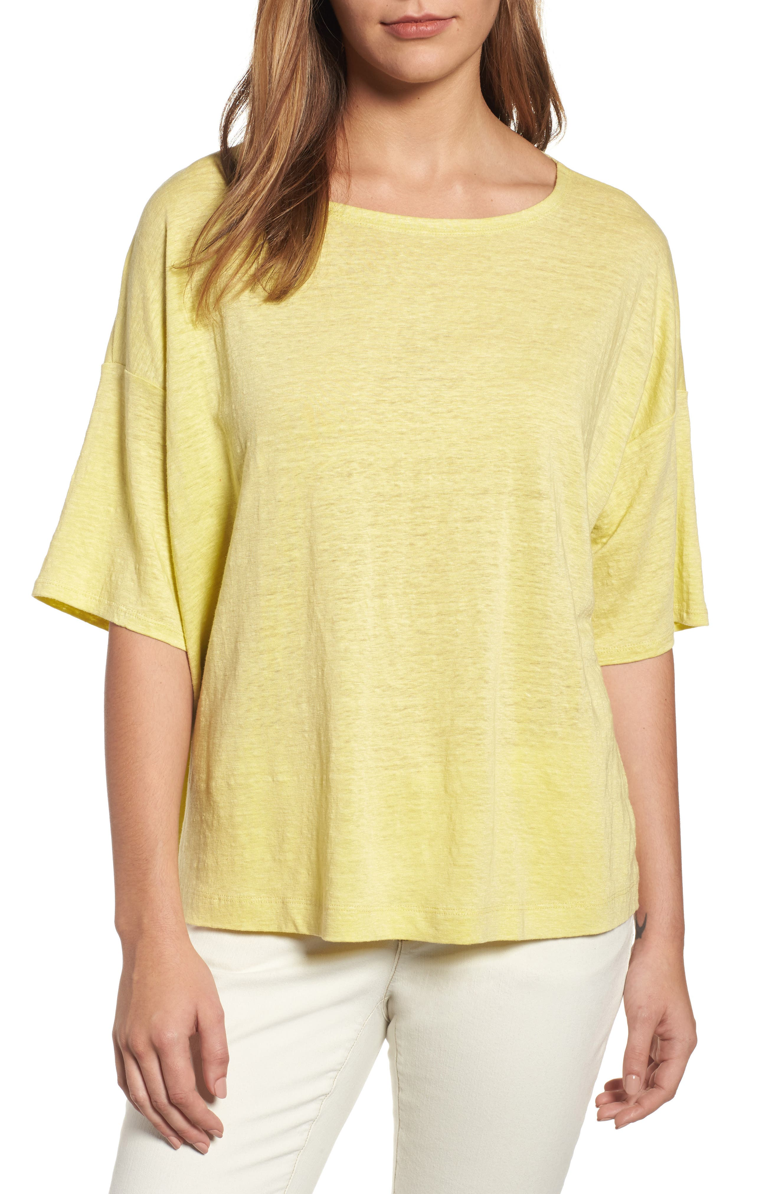 Eileen Fisher Organic Linen Jersey Boxy Top