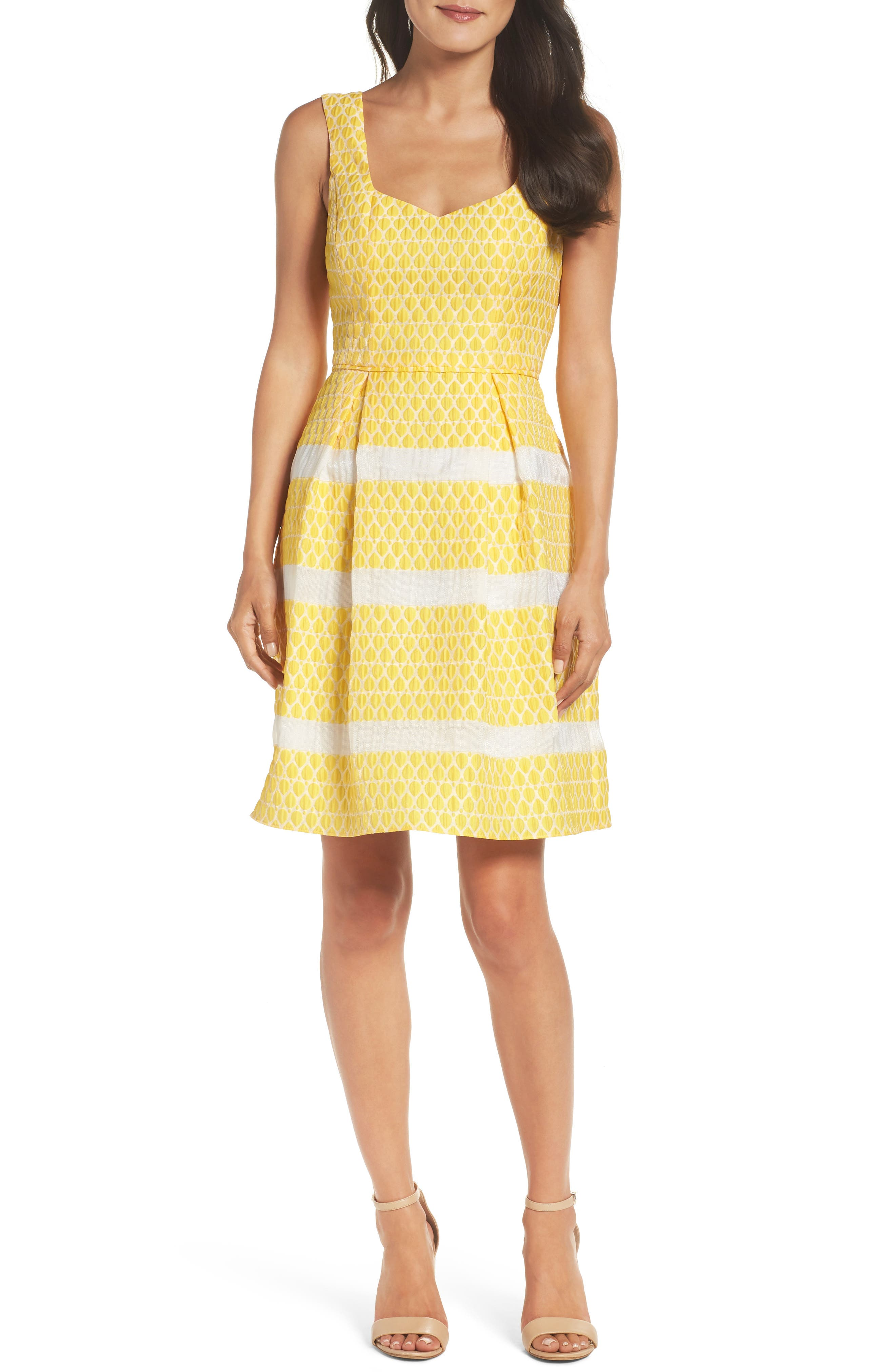 Adrianna Papell Lemon Drop Jacquard Fit & Flare Dress (Regular & Petite)