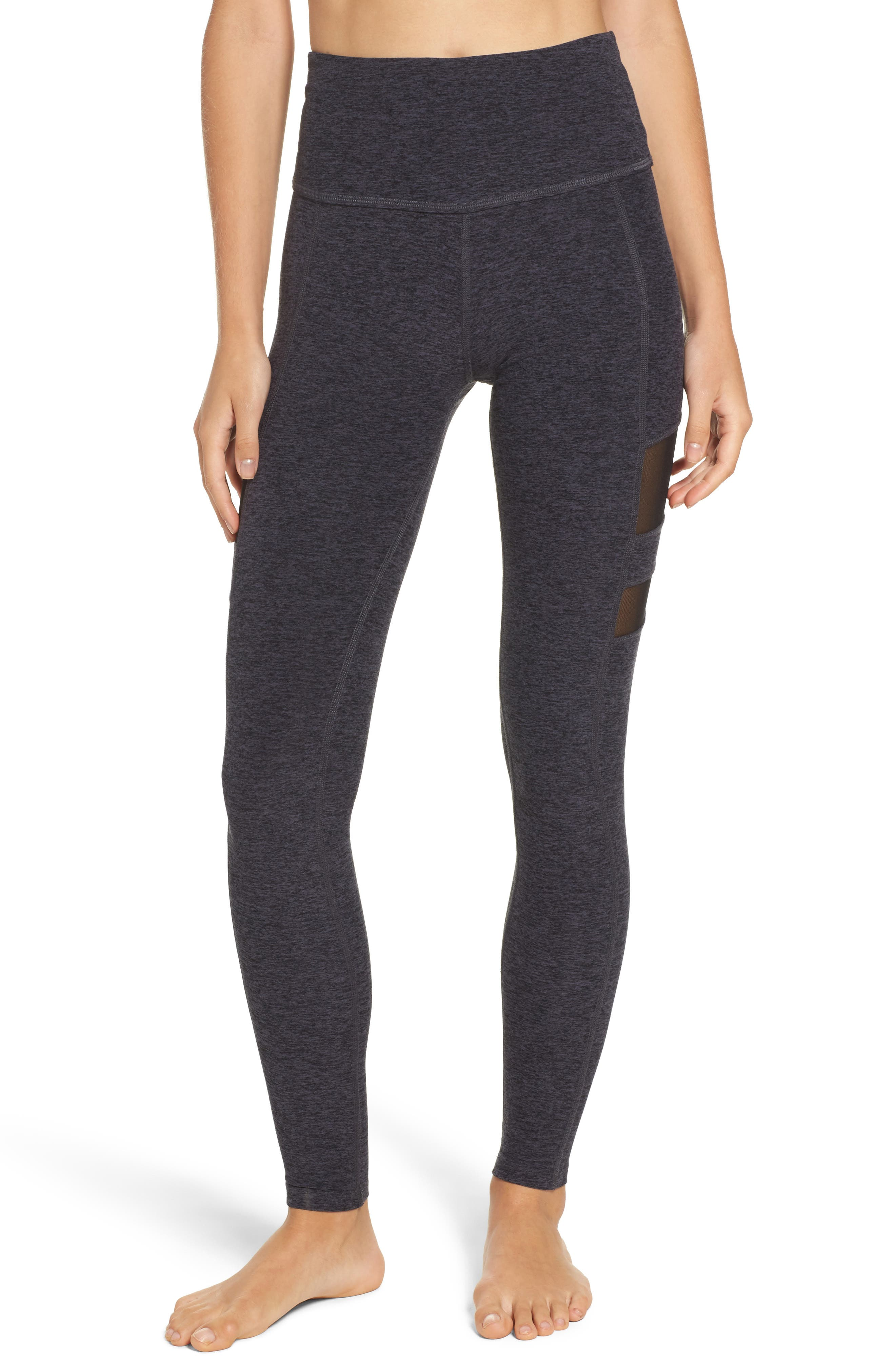 Beyond Yoga High Striped Mesh Leggings