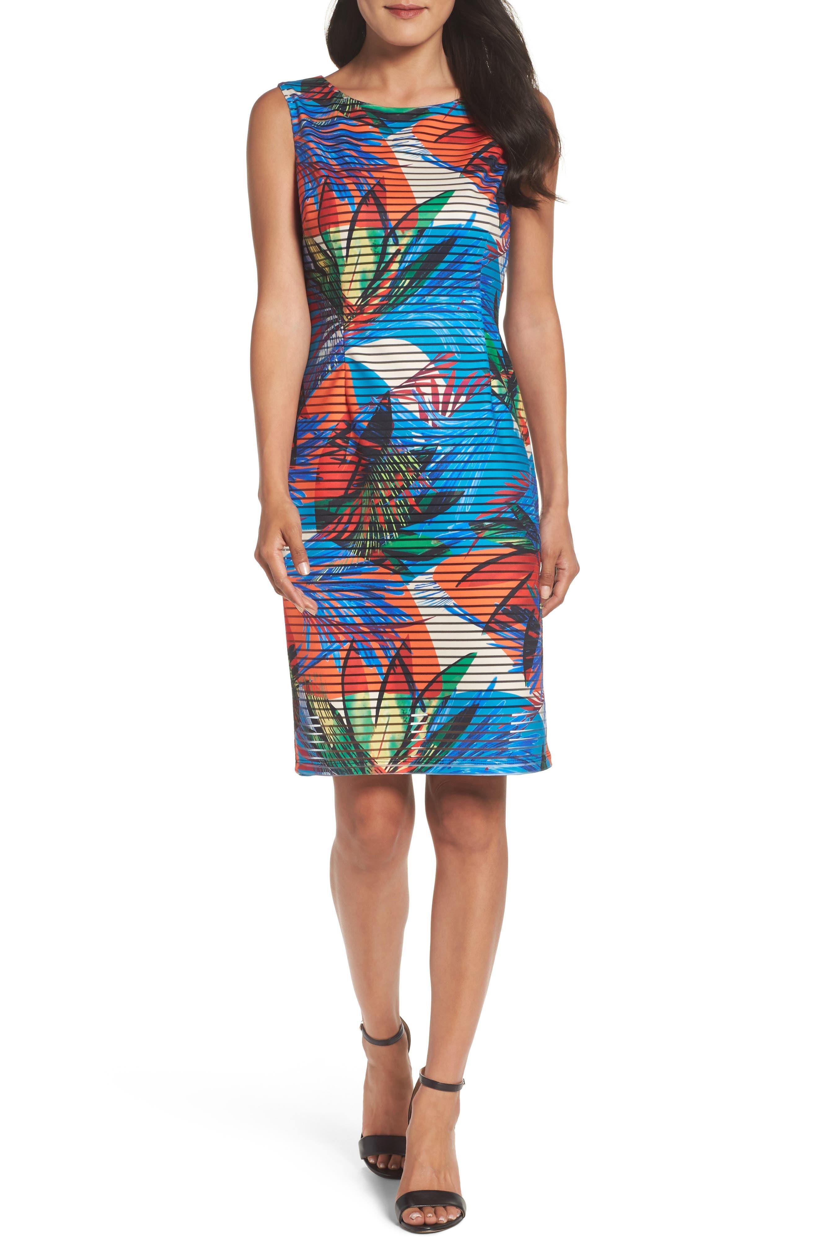 Ellen Tracy Shadow Knit Sheath Dress (Regular & Petite)