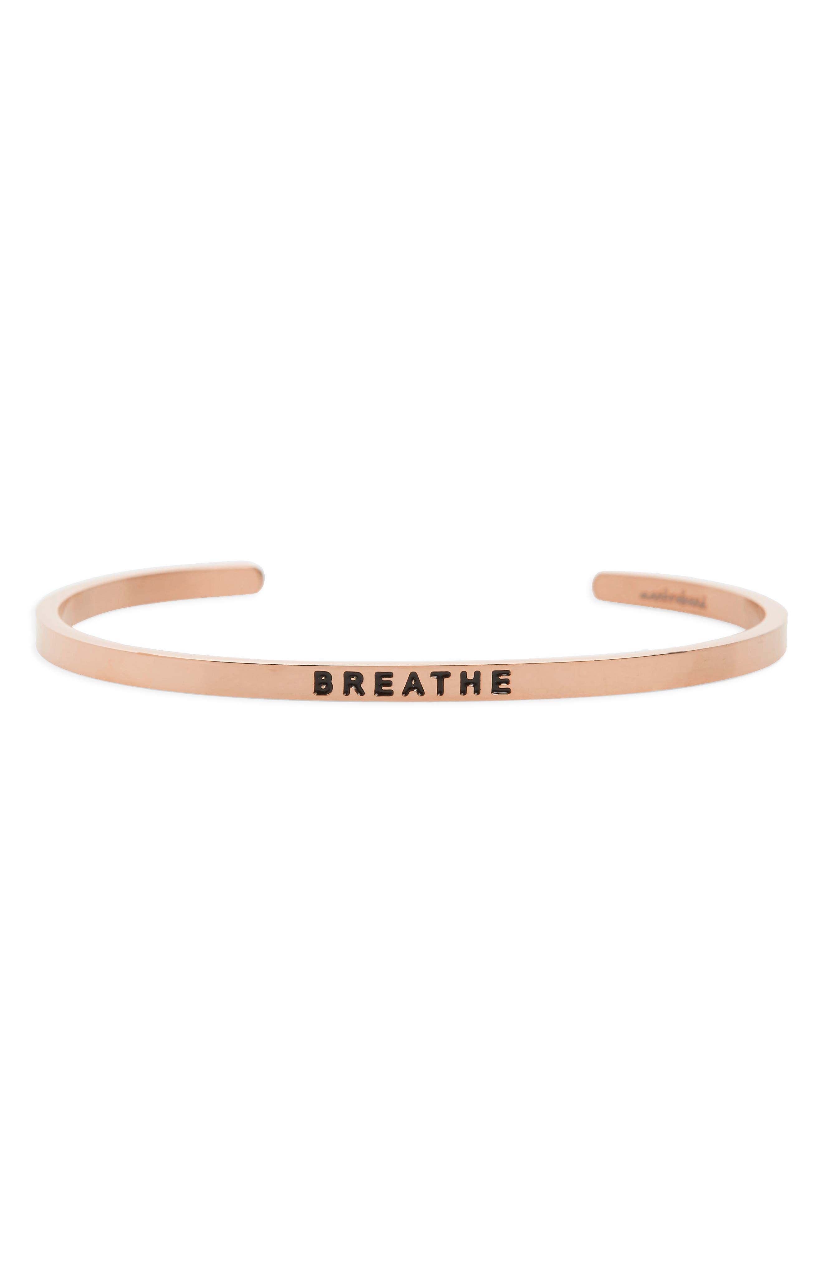 MantraBand Breathe Engraved Cuff