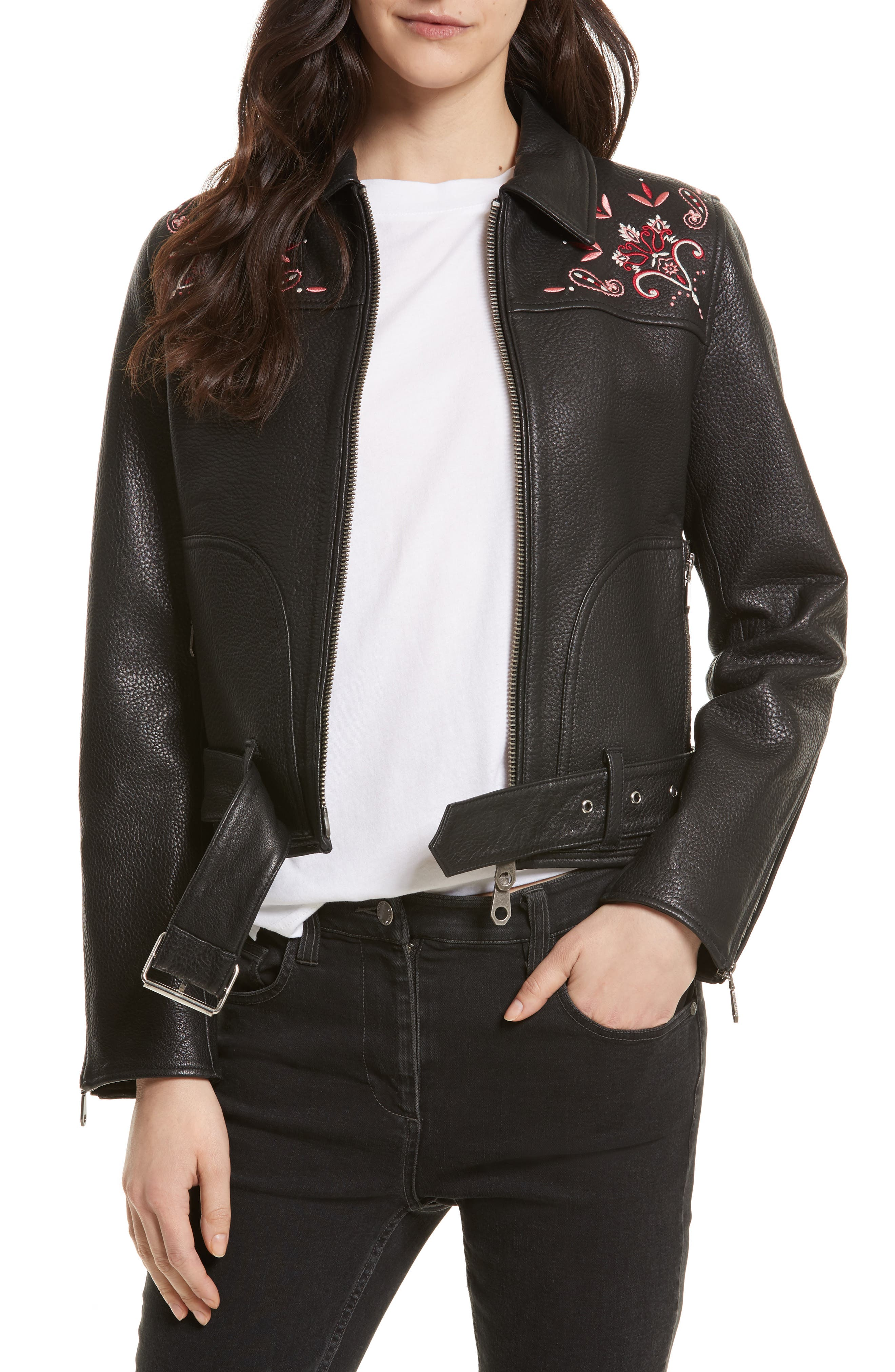Rebecca Minkoff Washoe Embroidered Leather Jacket