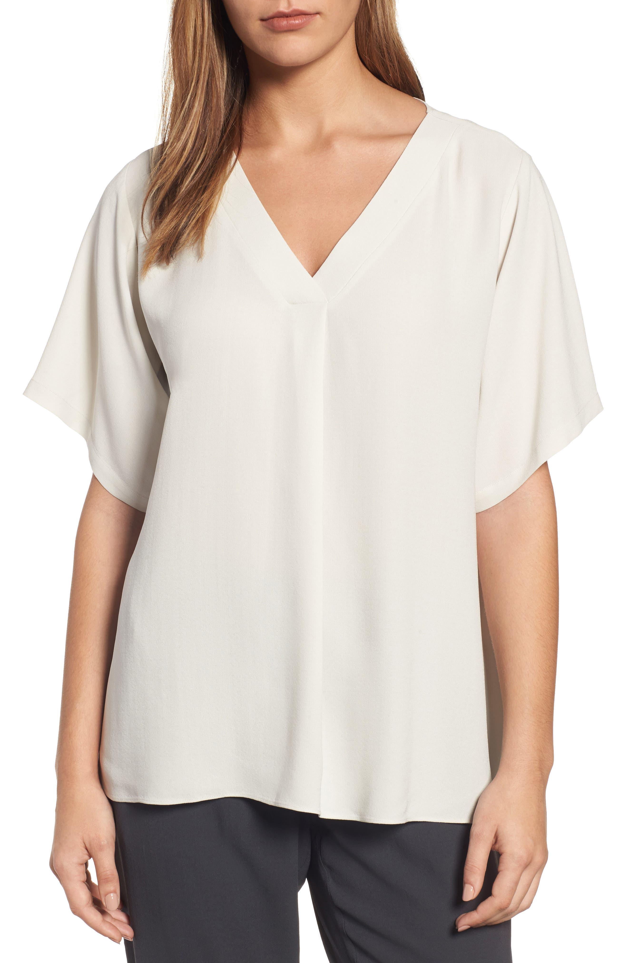 Eileen Fisher Silk V-Neck Top (Regular & Petite)