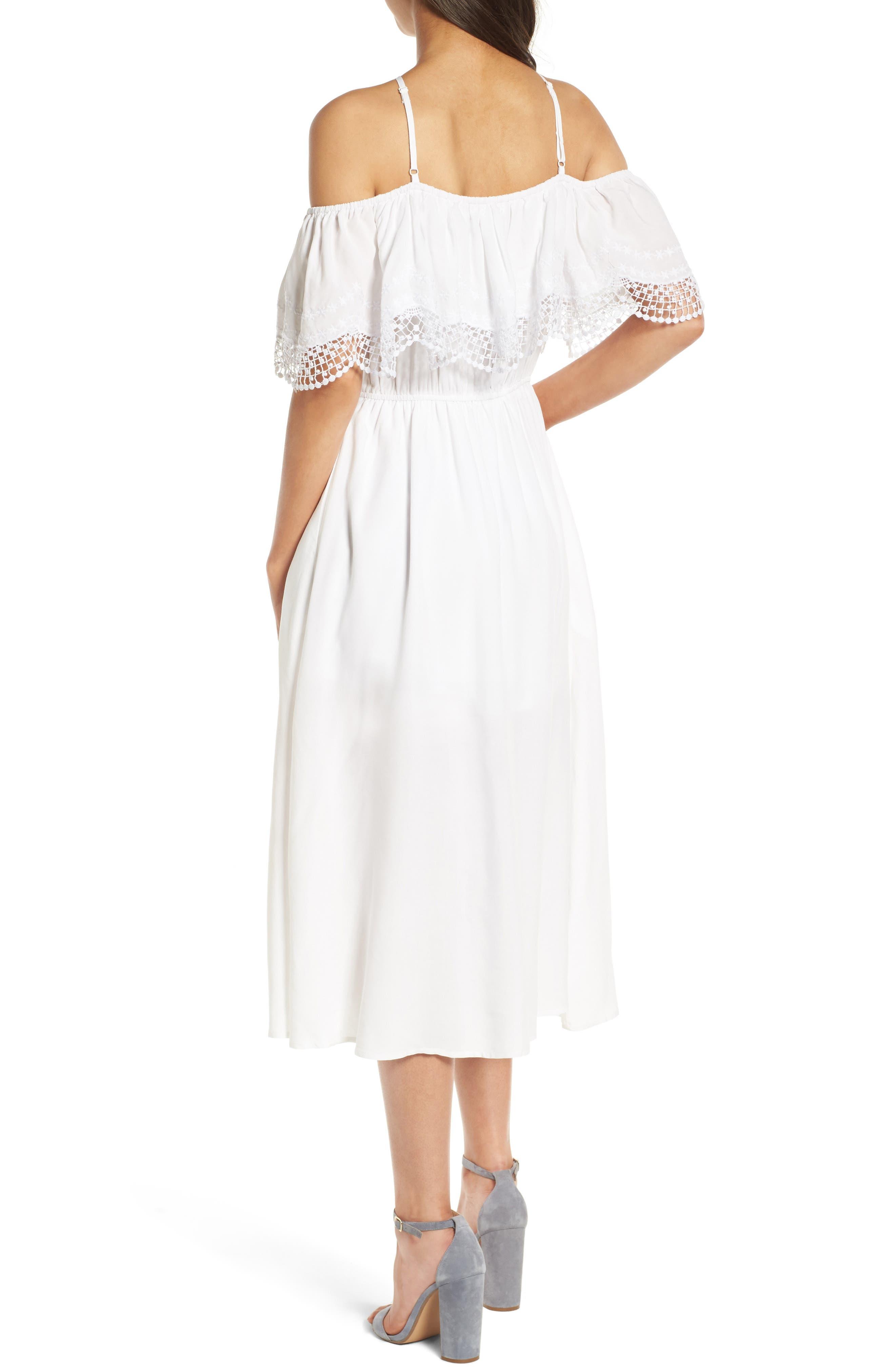 Alternate Image 2  - Love, Fire Lace Trim Cold Shoulder Dress