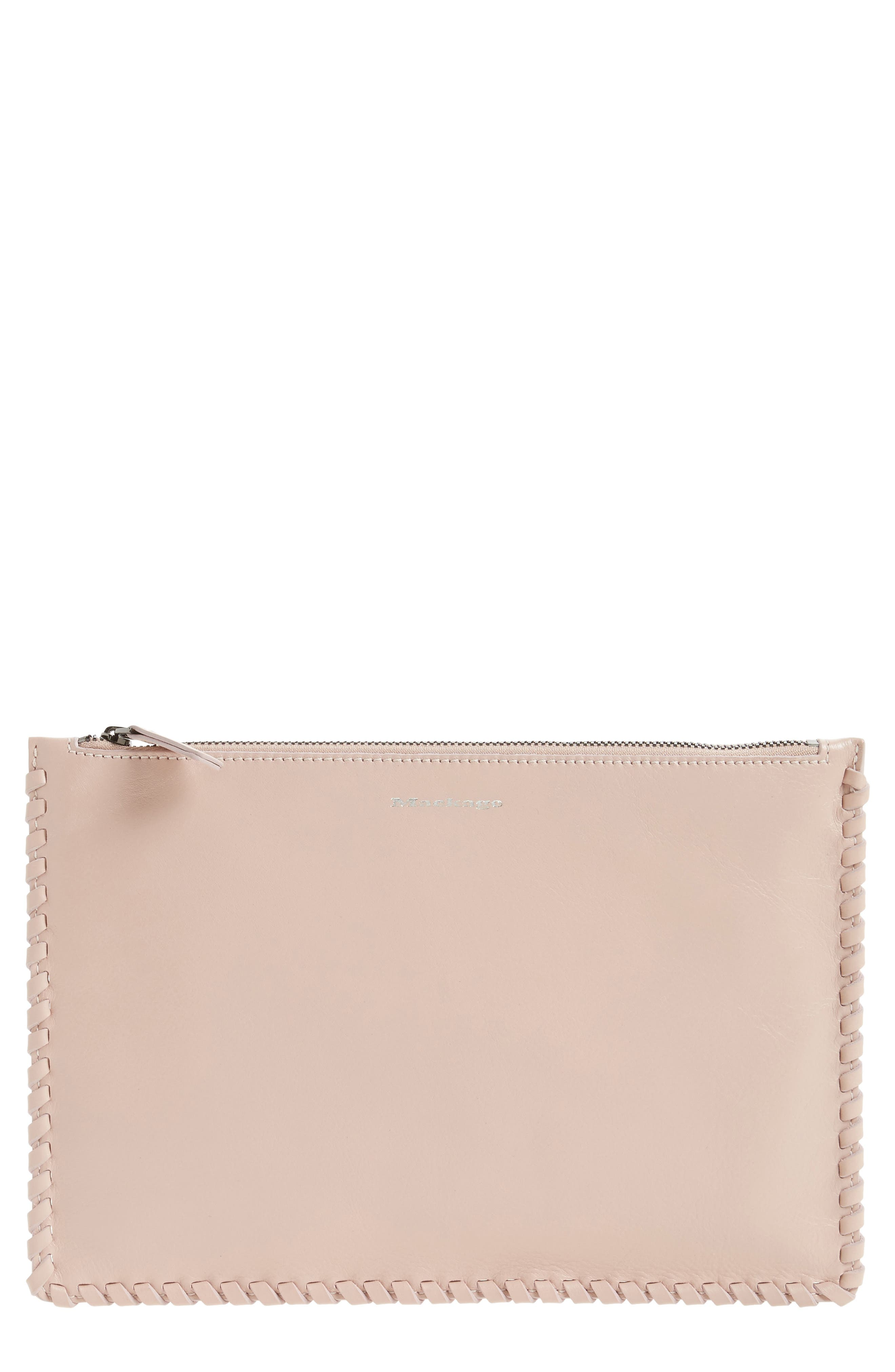 Mackage Whipstitch Leather Zip Pouch
