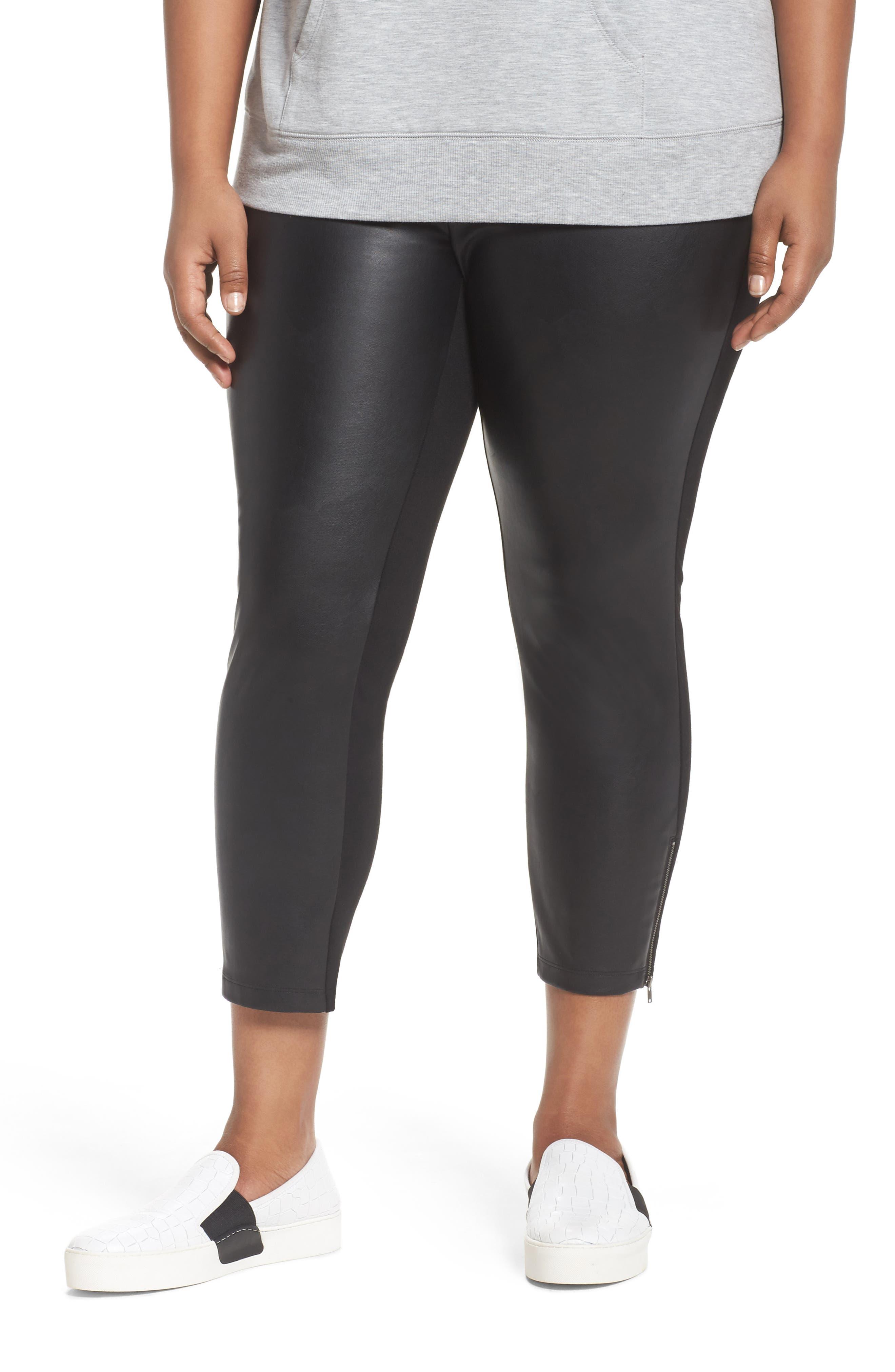 Sejour Faux Leather Front Crop Leggings (Plus Size)