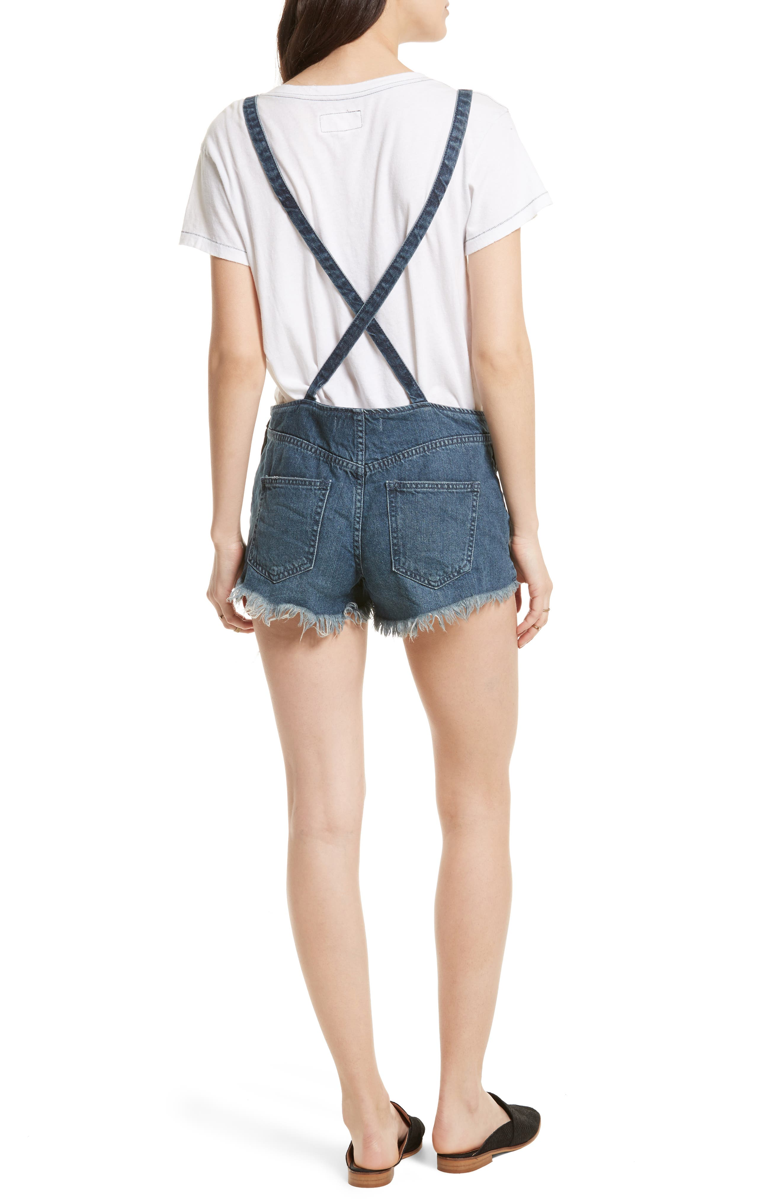 Alternate Image 2  - Free People Strappy Denim Short Overalls