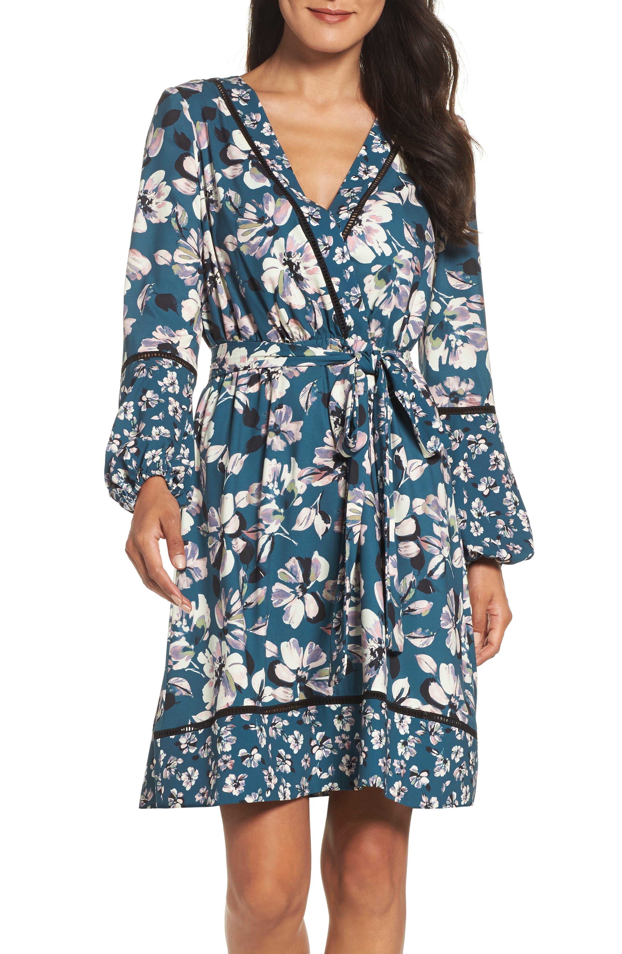 Main Image - Eliza J Print Bell Sleeve Faux Wrap Dress (Regular & Petite)