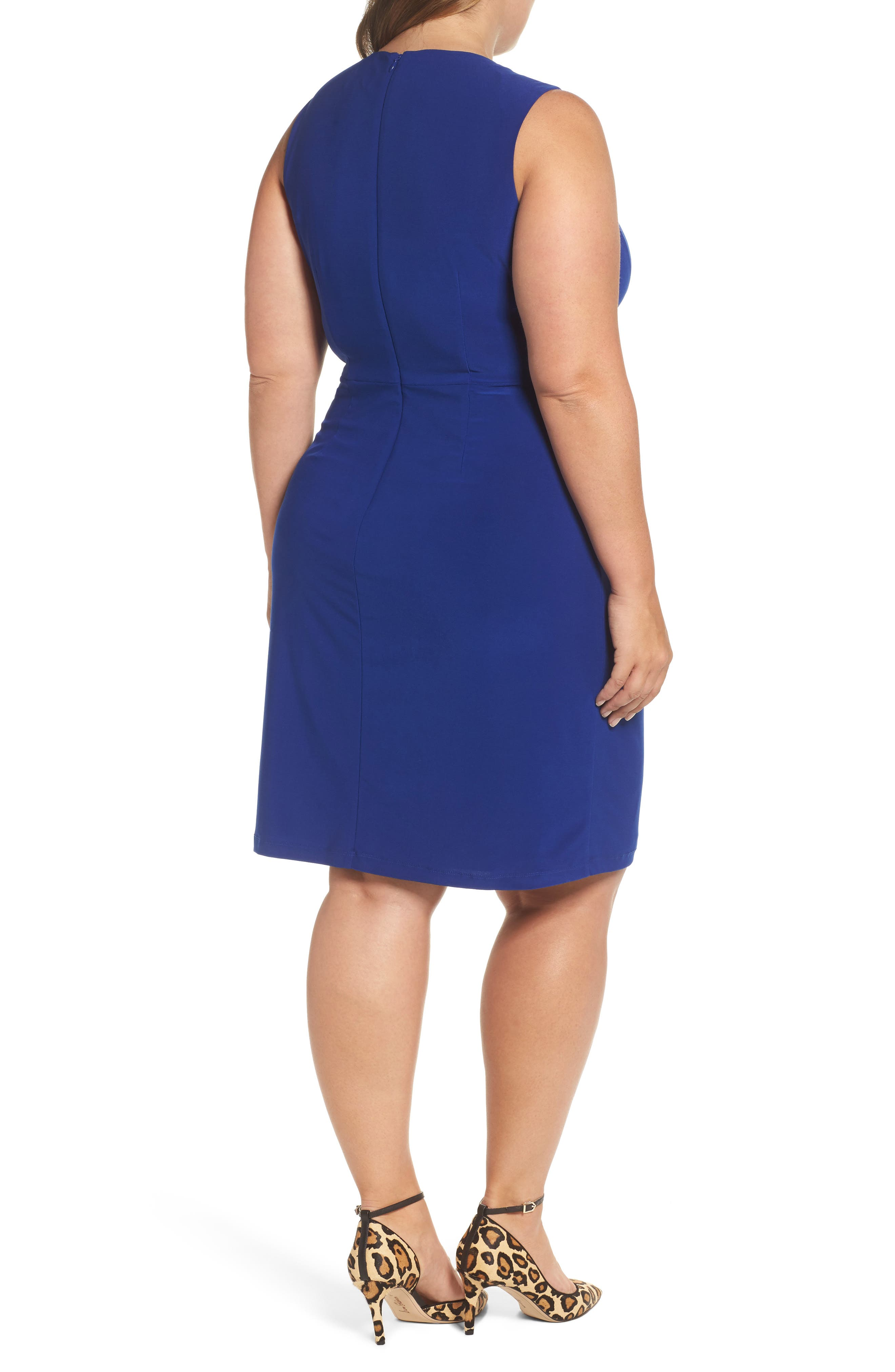 Alternate Image 2  - Eliza J Side Ruffle Faux Wrap Jersey Dress (Plus Size)
