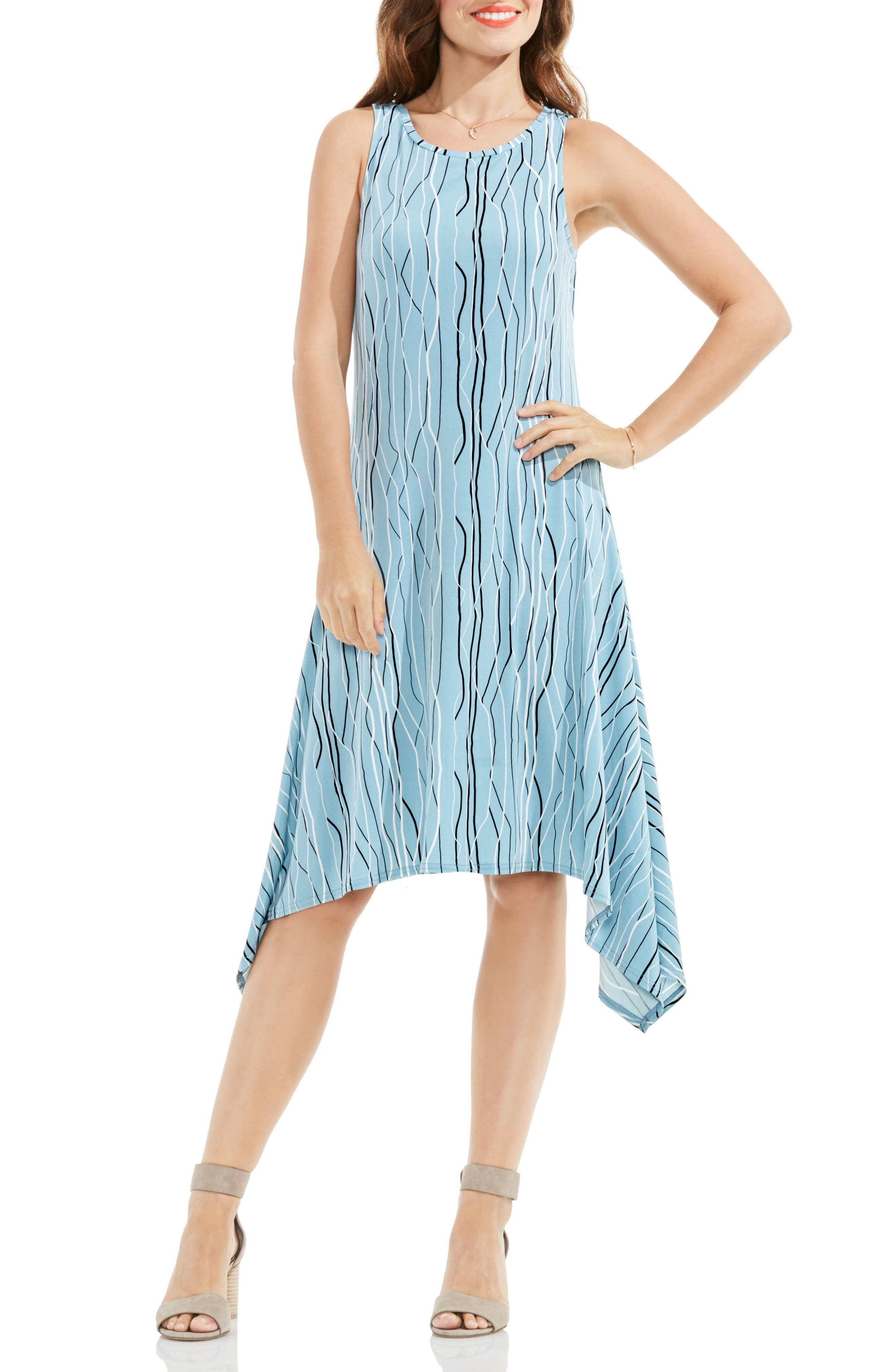 Vince Camuto Electric Lines Handkerchief Hem Dress (Regular & Petite)