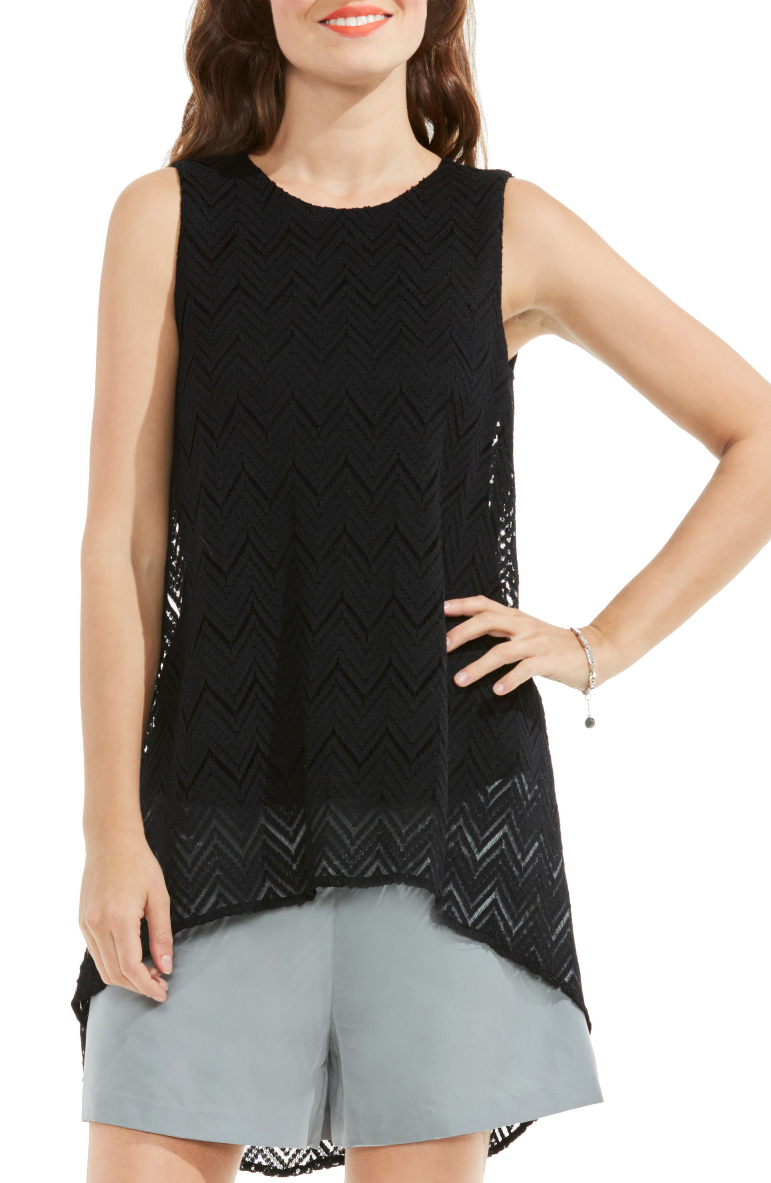Vince Camuto High/Low Herringbone Lace Blouse (Regular & Petite)