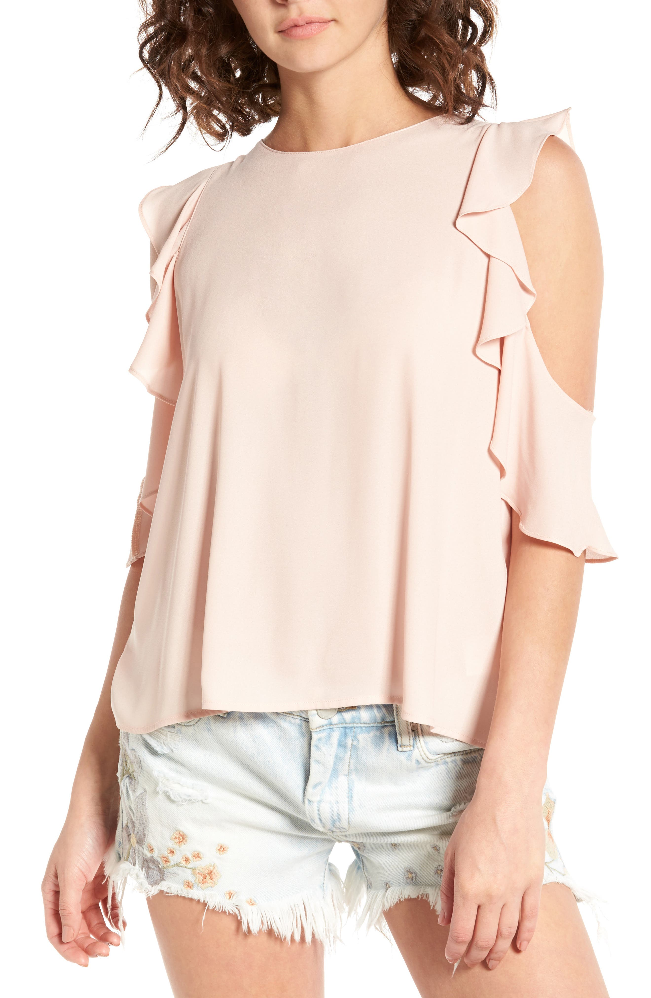 Lush Ruffle Cold Shoulder Top