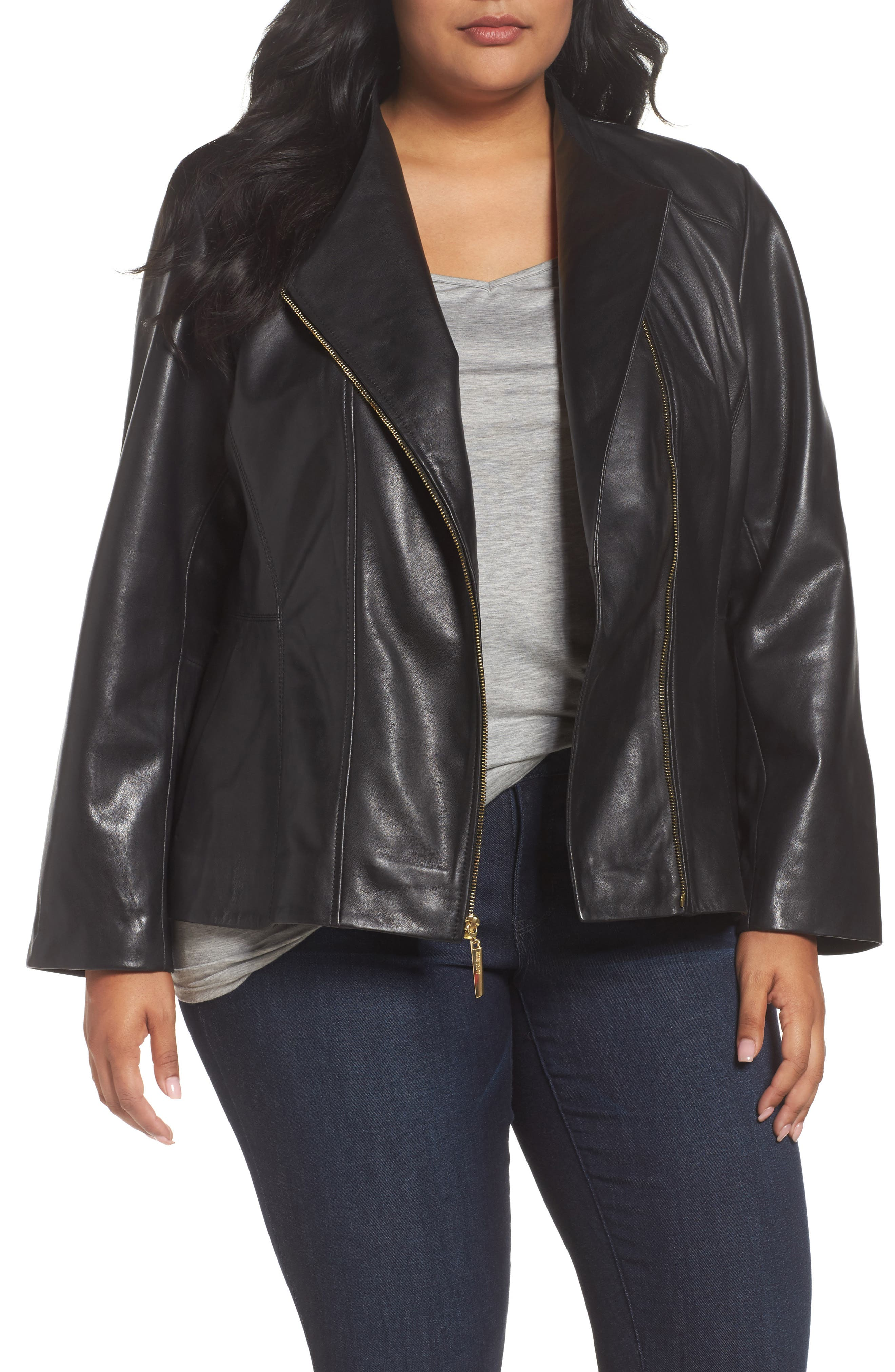 Ellen Tracy Asymmetrical Zip Leather Jacket (Plus Size)